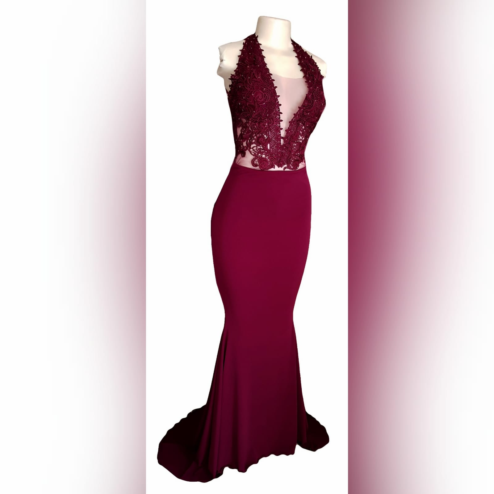 Burgundy illusion bodice soft mermaid prom dress 7 burgundy illusion bodice, soft mermaid prom dress. With a plunging neckline, low v open back with crossed straps detailed with gold beads.