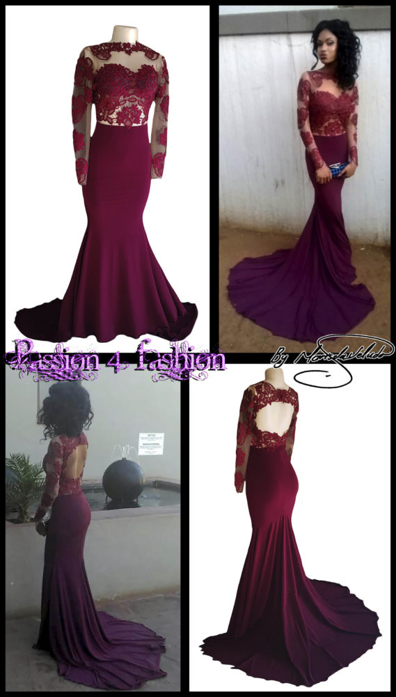 Burgundy soft mermaid illusion lace bodice matric farewell dress with a rounded open back with lace long sleeves and a train.