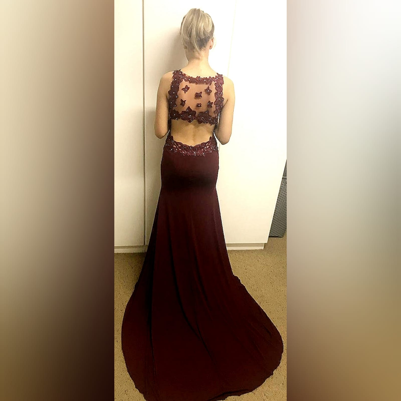 Burgundy long sexy matric farewell dress 11 burgundy long sexy matric farewell dress with an illusion lace low back and side tummy. Sweetheart neckline detailed with lace. With a slit and a train.