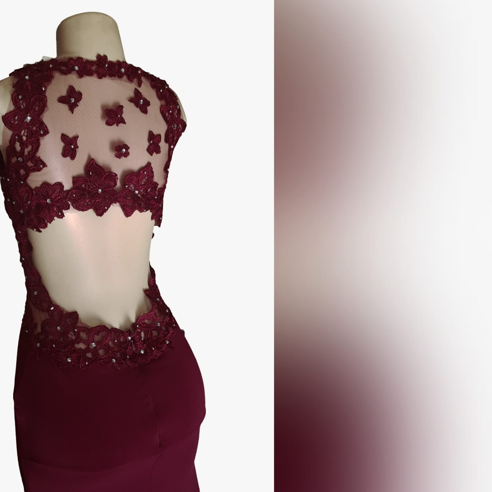 Burgundy long sexy matric farewell dress 10 burgundy long sexy matric farewell dress with an illusion lace low back and side tummy. Sweetheart neckline detailed with lace. With a slit and a train.