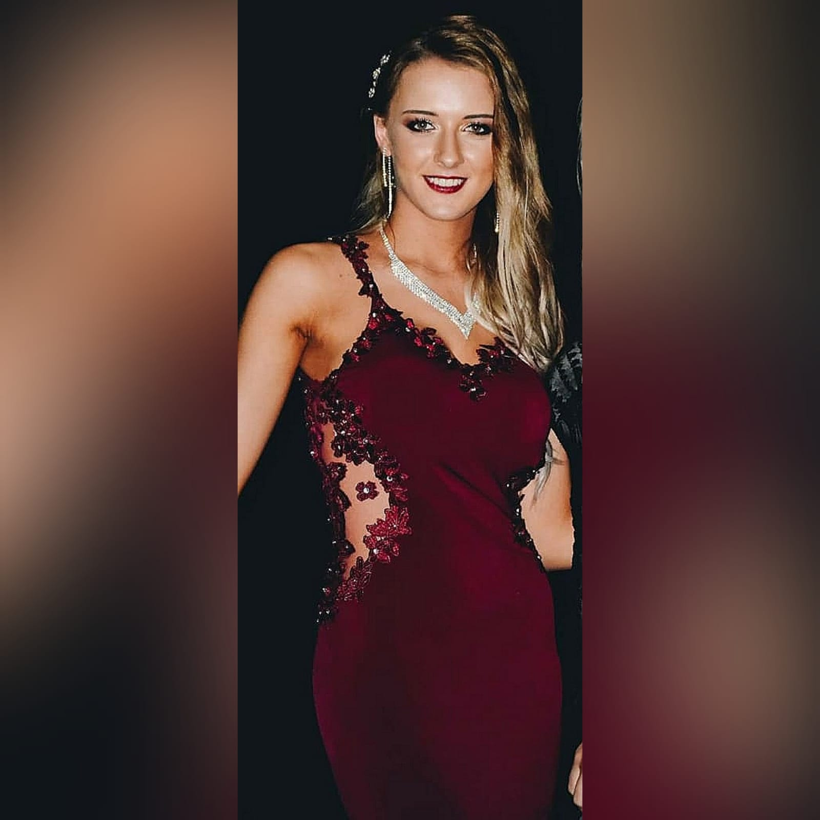 Burgundy long sexy matric farewell dress 2 burgundy long sexy matric farewell dress with an illusion lace low back and side tummy. Sweetheart neckline detailed with lace. With a slit and a train.