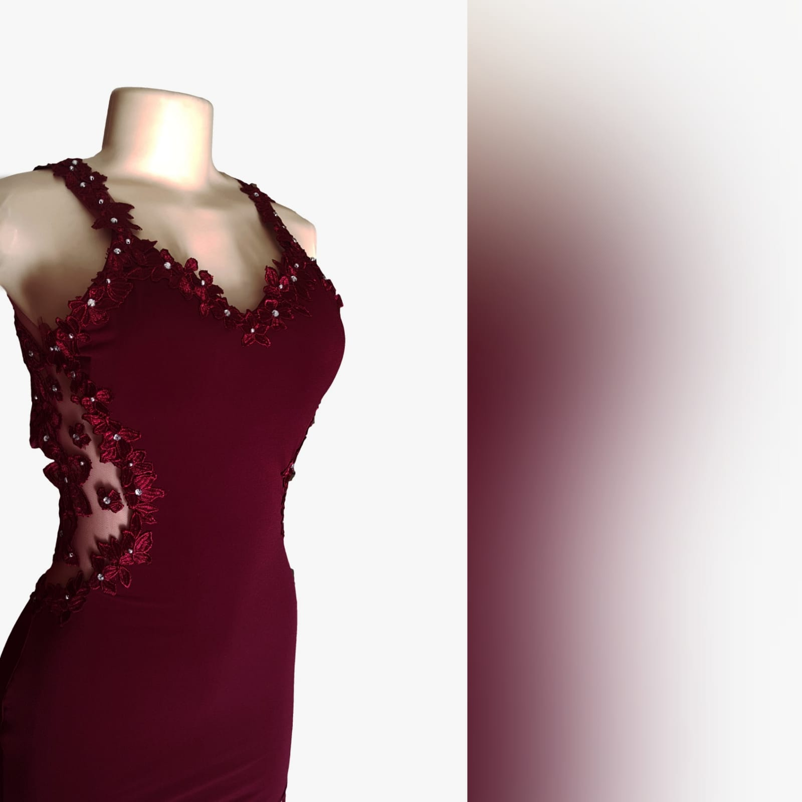 Burgundy long sexy matric farewell dress 7 burgundy long sexy matric farewell dress with an illusion lace low back and side tummy. Sweetheart neckline detailed with lace. With a slit and a train.