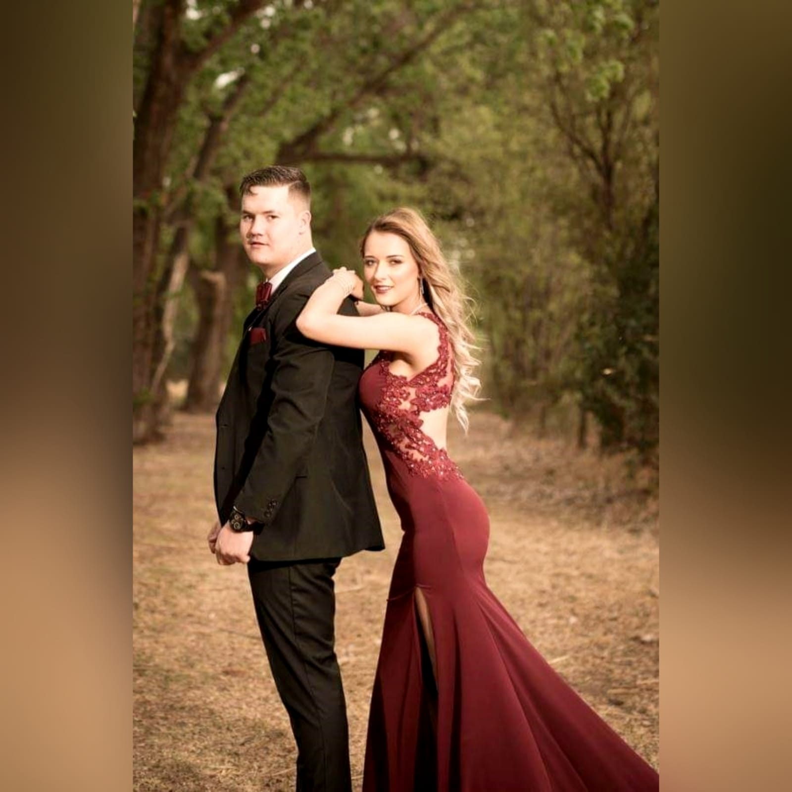 Burgundy long sexy matric farewell dress 1 burgundy long sexy matric farewell dress with an illusion lace low back and side tummy. Sweetheart neckline detailed with lace. With a slit and a train.