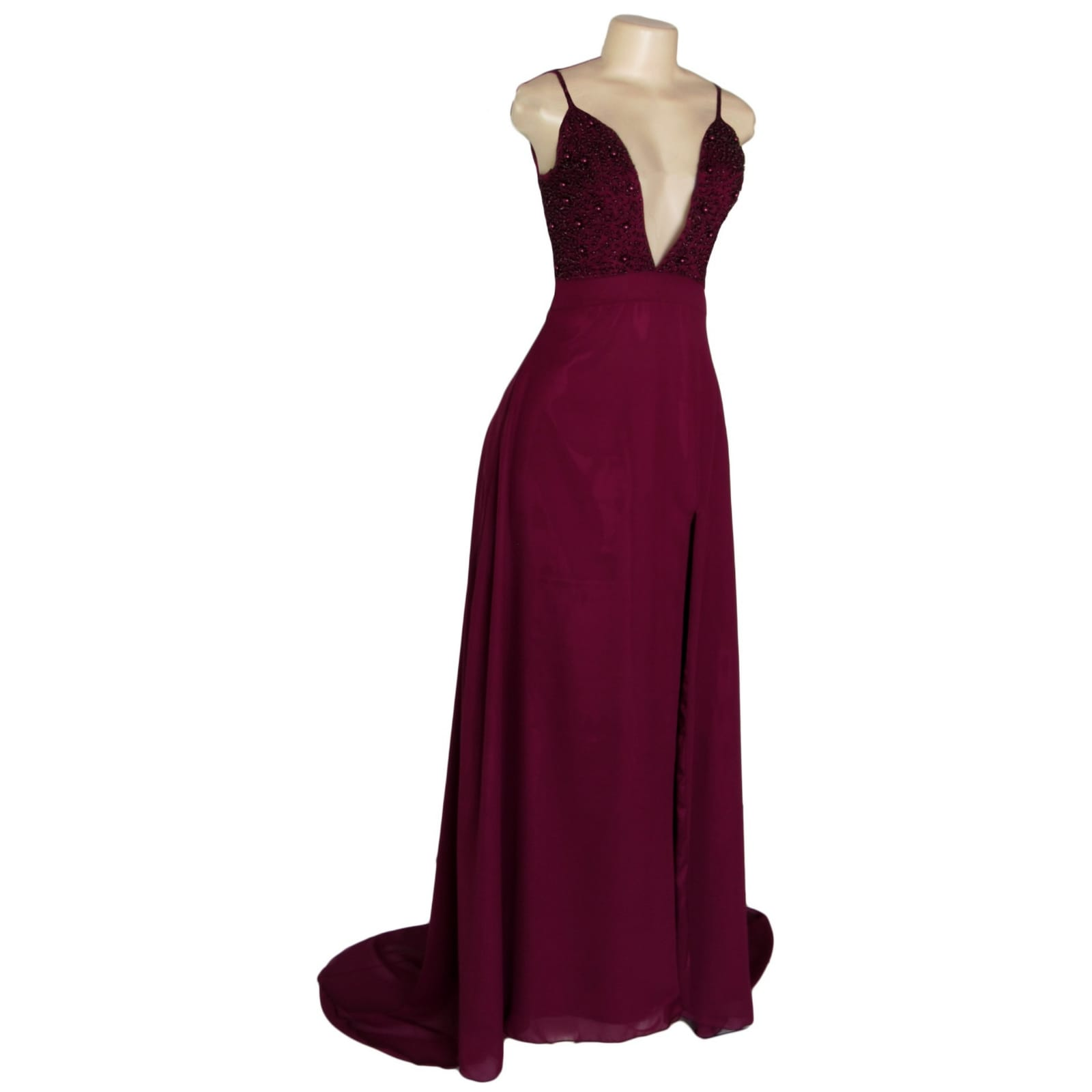 Burgundy plunging neckline long prom dress 8 burgundy plunging neckline long matric dance dress with a slit and a train. With a beaded bodice.