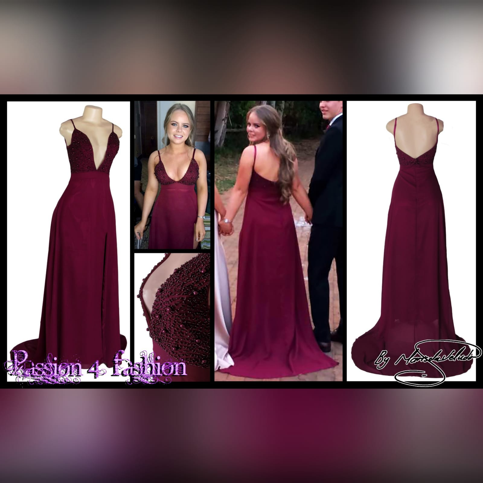 Burgundy plunging neckline long prom dress 4 burgundy plunging neckline long matric dance dress with a slit and a train. With a beaded bodice.