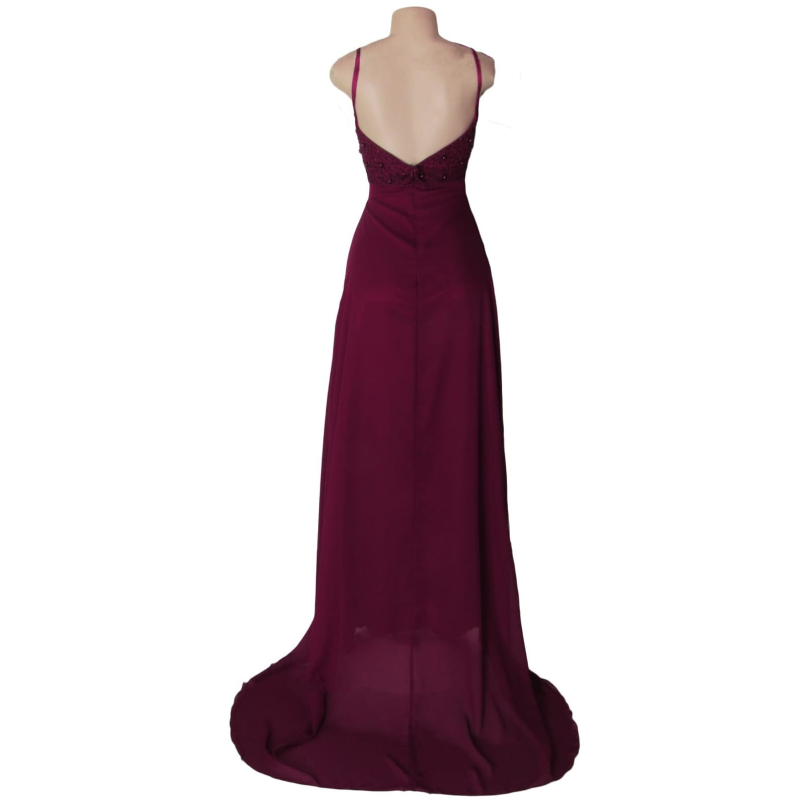 Burgundy plunging neckline long prom dress 5 burgundy plunging neckline long matric dance dress with a slit and a train. With a beaded bodice.