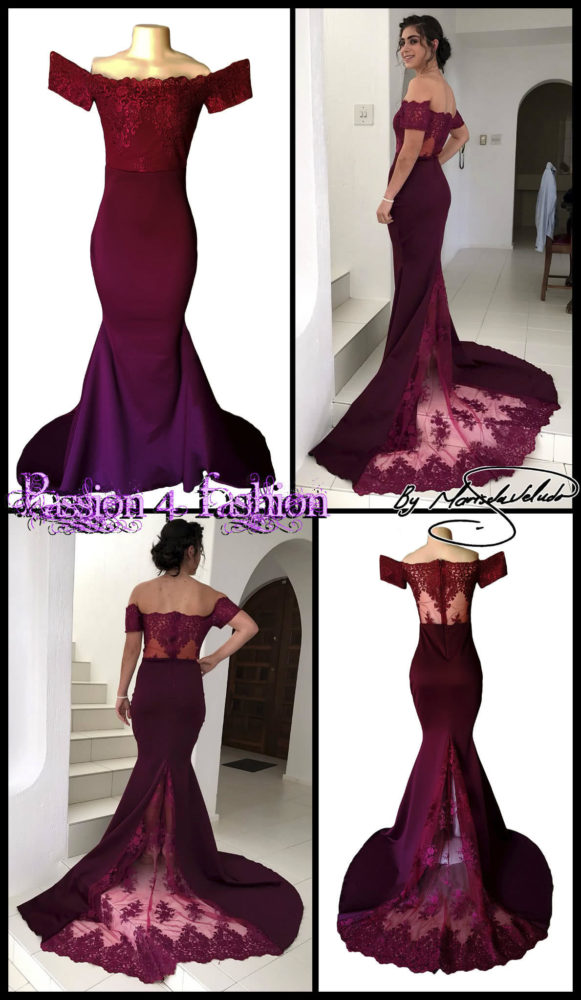 Burgundy soft mermaid off shoulder matric farewell dress. Bodice in lace with a see-through back and off-shoulder sleeves. With a sheer lace train.