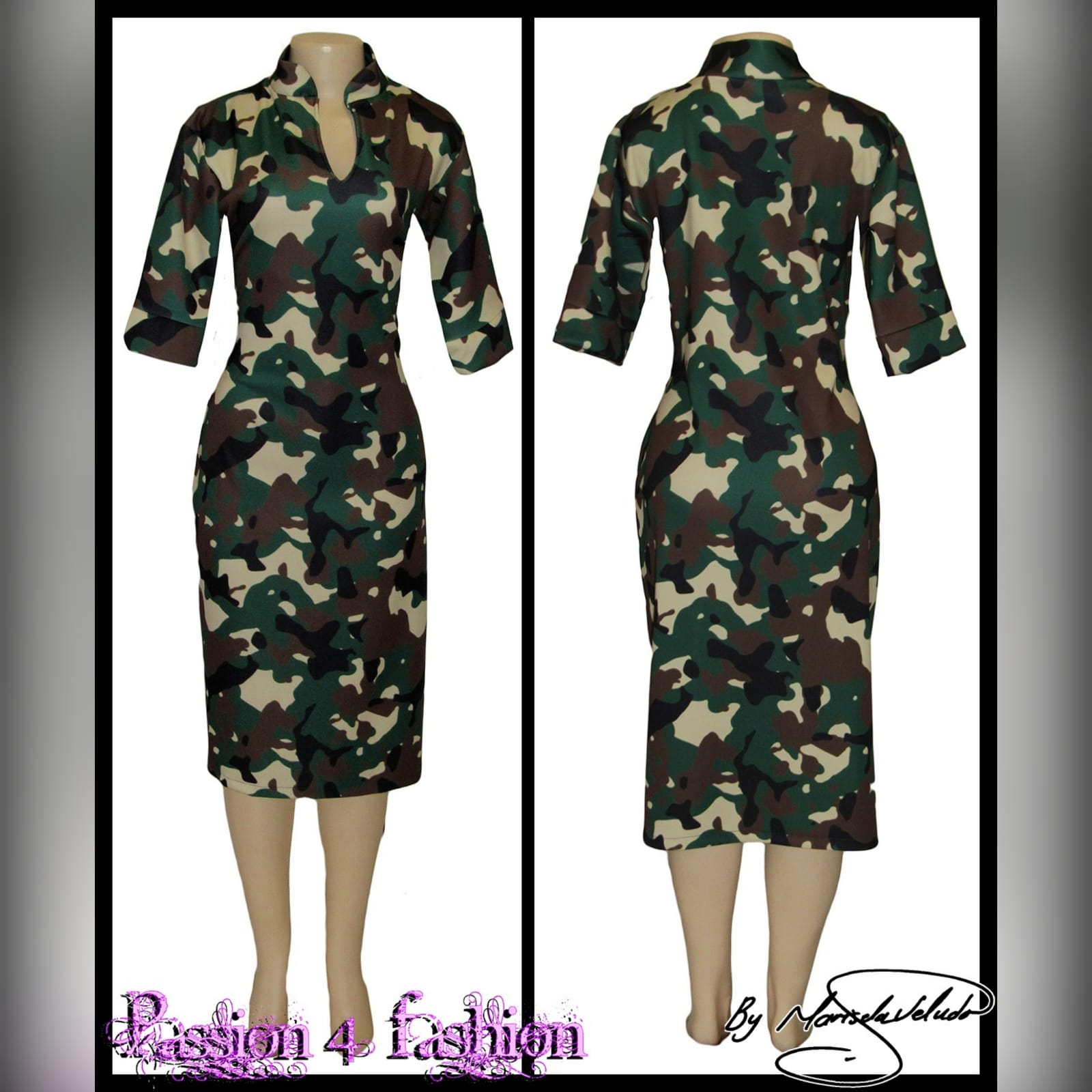 Camo knee length fitted dress 2 camo knee length fitted dress with short sleeves & chinese collar