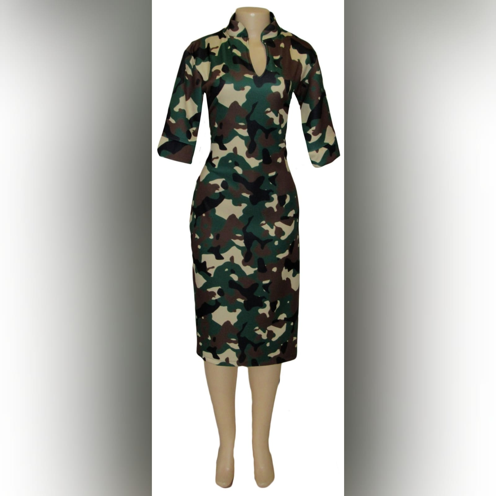 Camo knee length fitted dress 1 camo knee length fitted dress with short sleeves & chinese collar