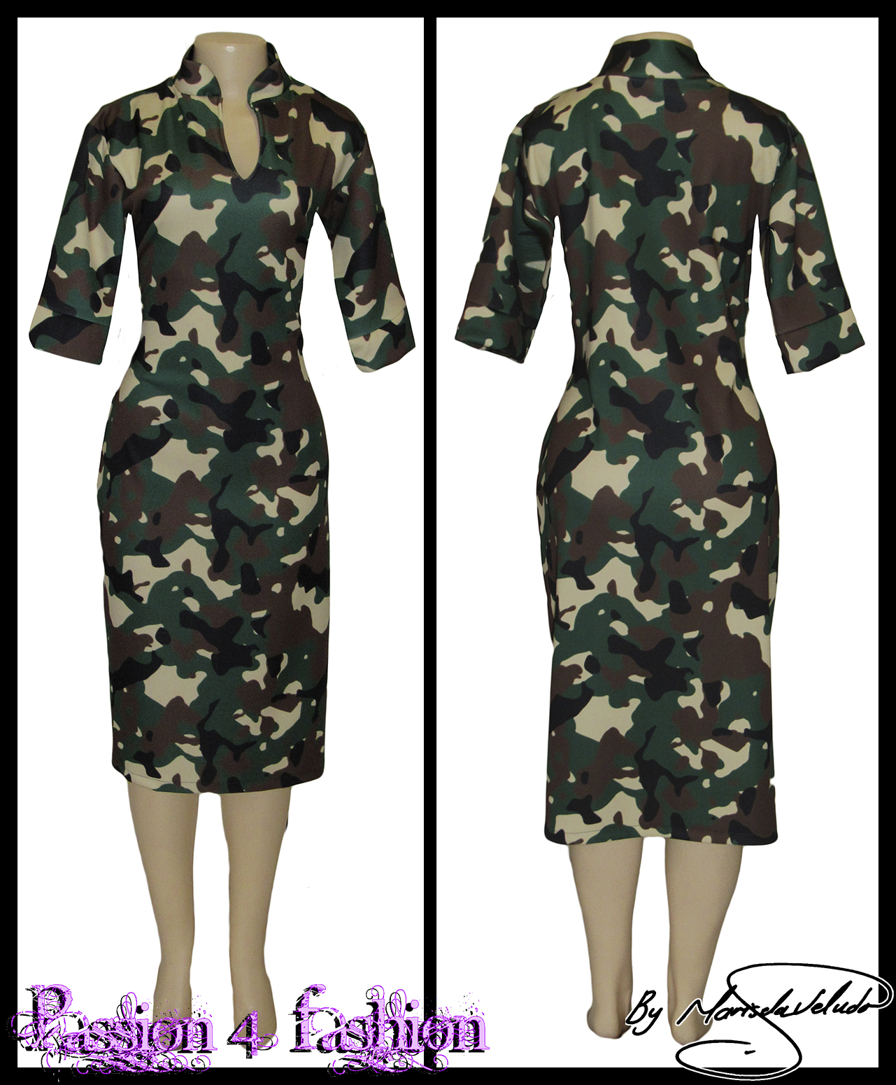 Camo knee length fitted dress 4 camo knee length fitted dress with short sleeves & chinese collar
