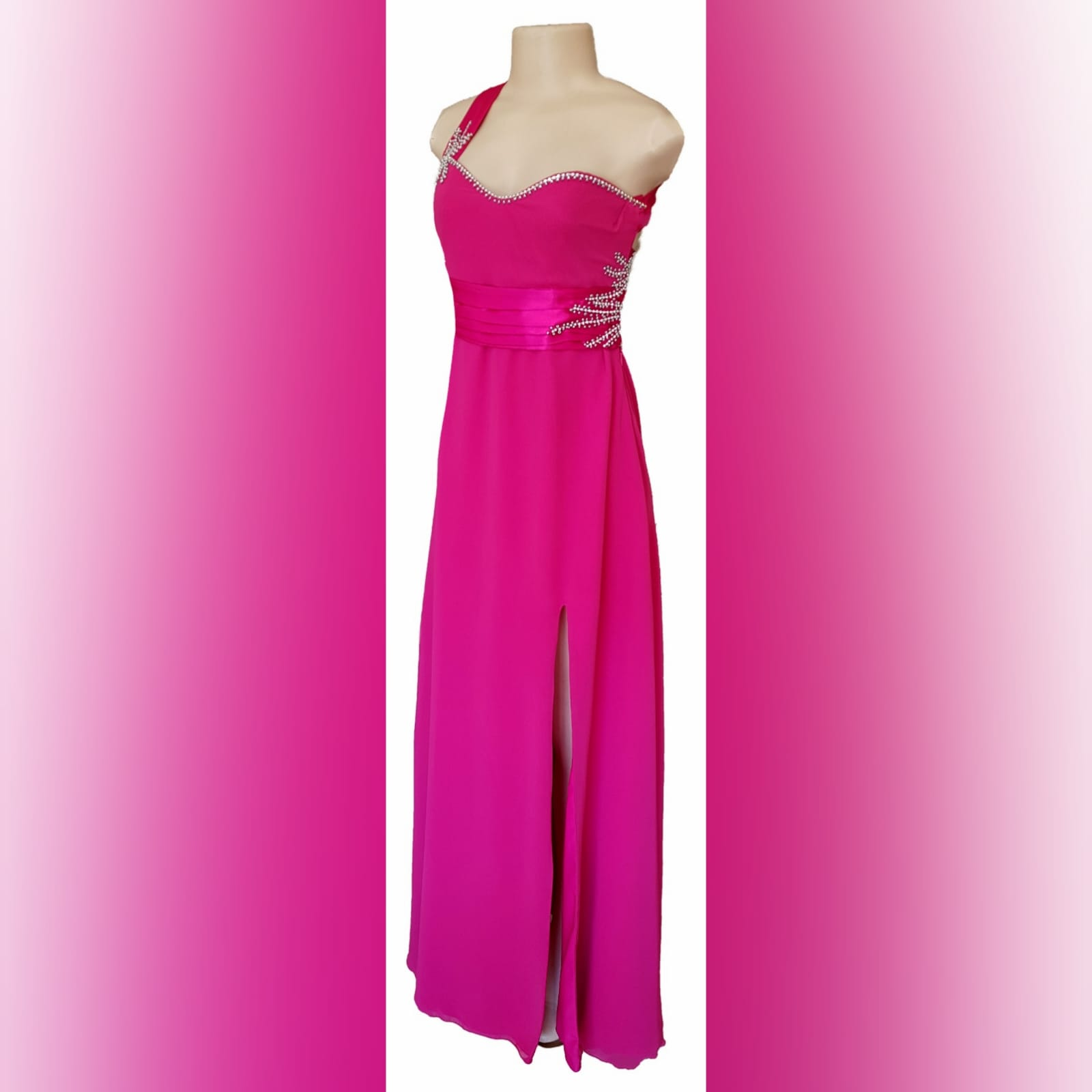 Cerise pink long flowy sexy evening dress 2 cerise pink long flowy sexy evening dress with a slit. One shoulder with a sweetheart neckline. Open back detailed with wide straps. Pleated belt. Dress beaded with silver.