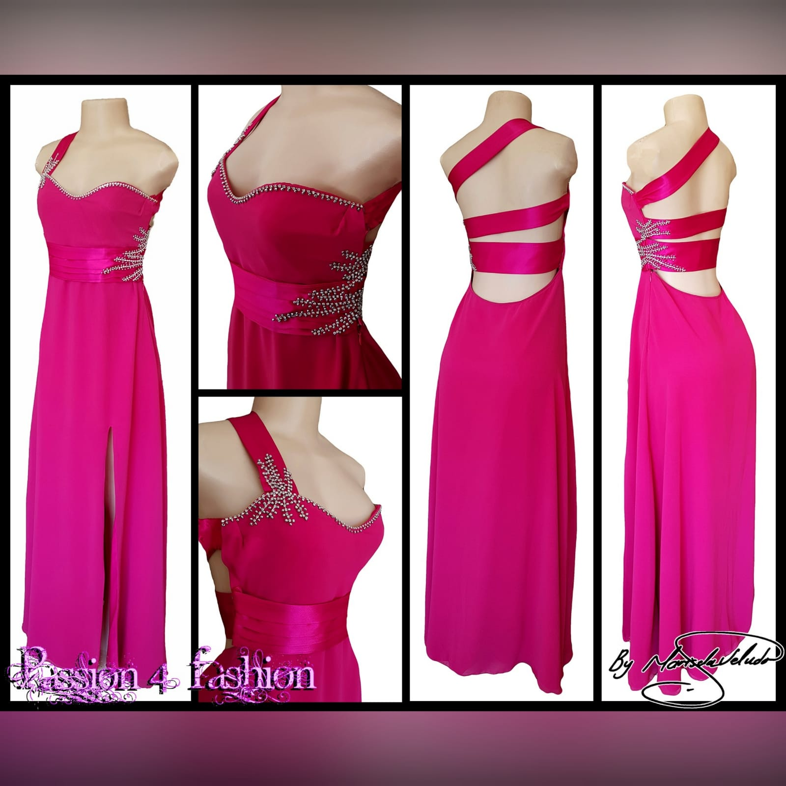 Cerise pink long flowy sexy evening dress 6 cerise pink long flowy sexy evening dress with a slit. One shoulder with a sweetheart neckline. Open back detailed with wide straps. Pleated belt. Dress beaded with silver.