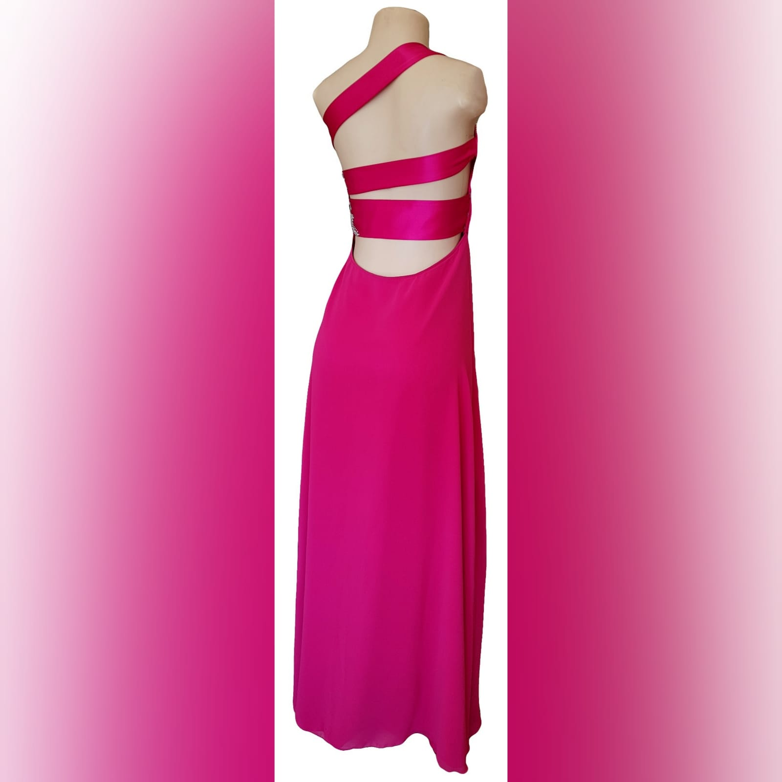 Cerise pink long flowy sexy evening dress 3 cerise pink long flowy sexy evening dress with a slit. One shoulder with a sweetheart neckline. Open back detailed with wide straps. Pleated belt. Dress beaded with silver.