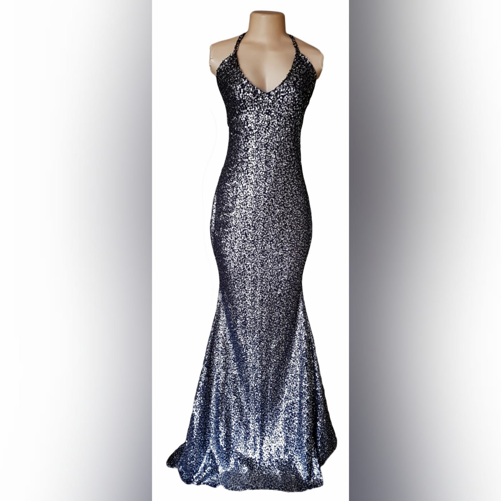 Charcoal fully sequins long evening dress for end year party 1 charcoal fully sequins long evening dress for end year party, with a low v open back and crossed shoulder straps.