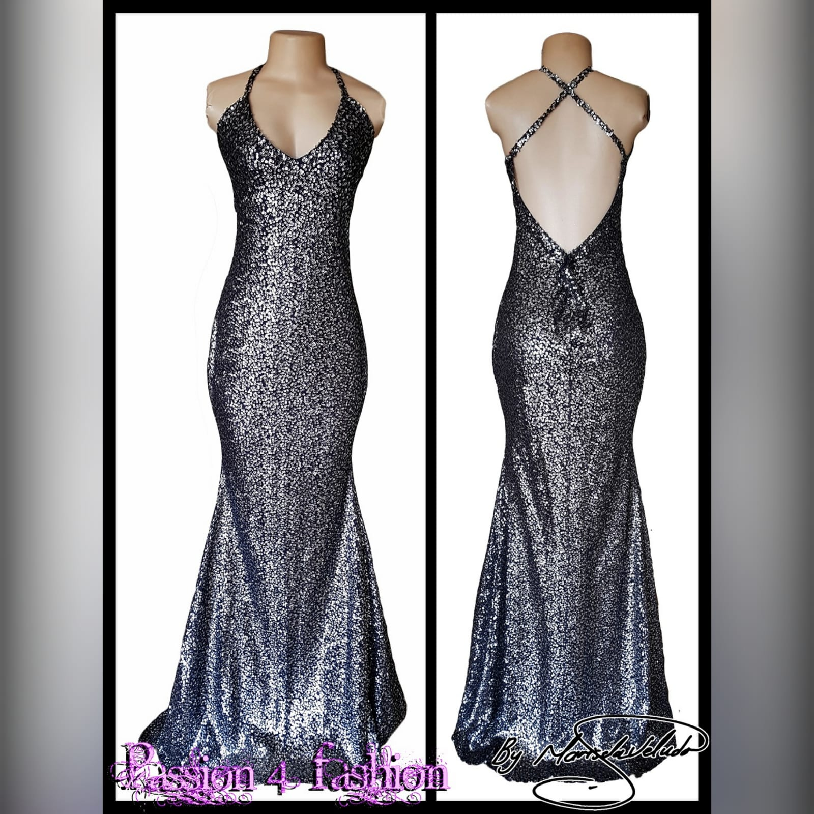 Charcoal fully sequins long evening dress for end year party 3 charcoal fully sequins long evening dress for end year party, with a low v open back and crossed shoulder straps.