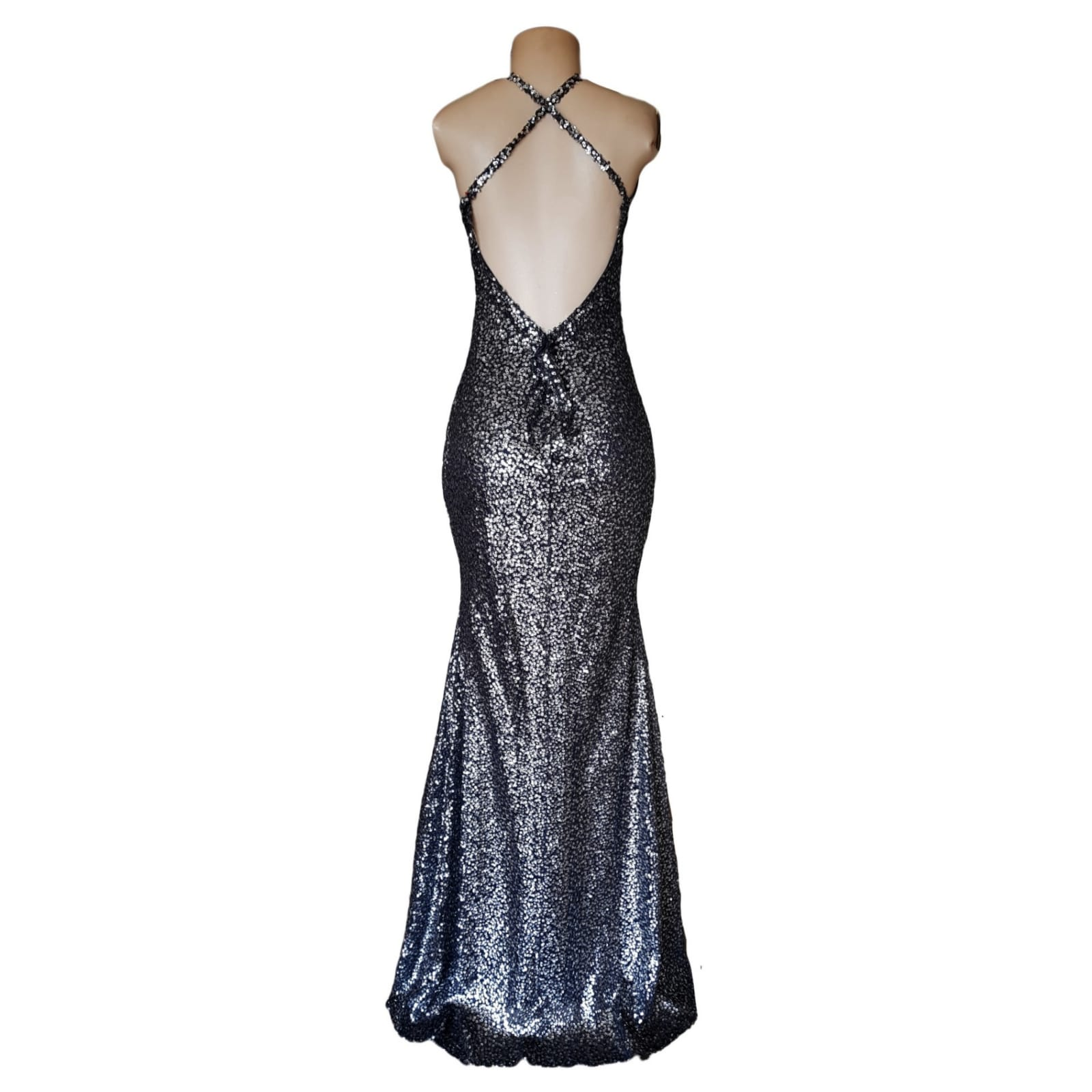 Charcoal fully sequins long evening dress for end year party 2 charcoal fully sequins long evening dress for end year party, with a low v open back and crossed shoulder straps.
