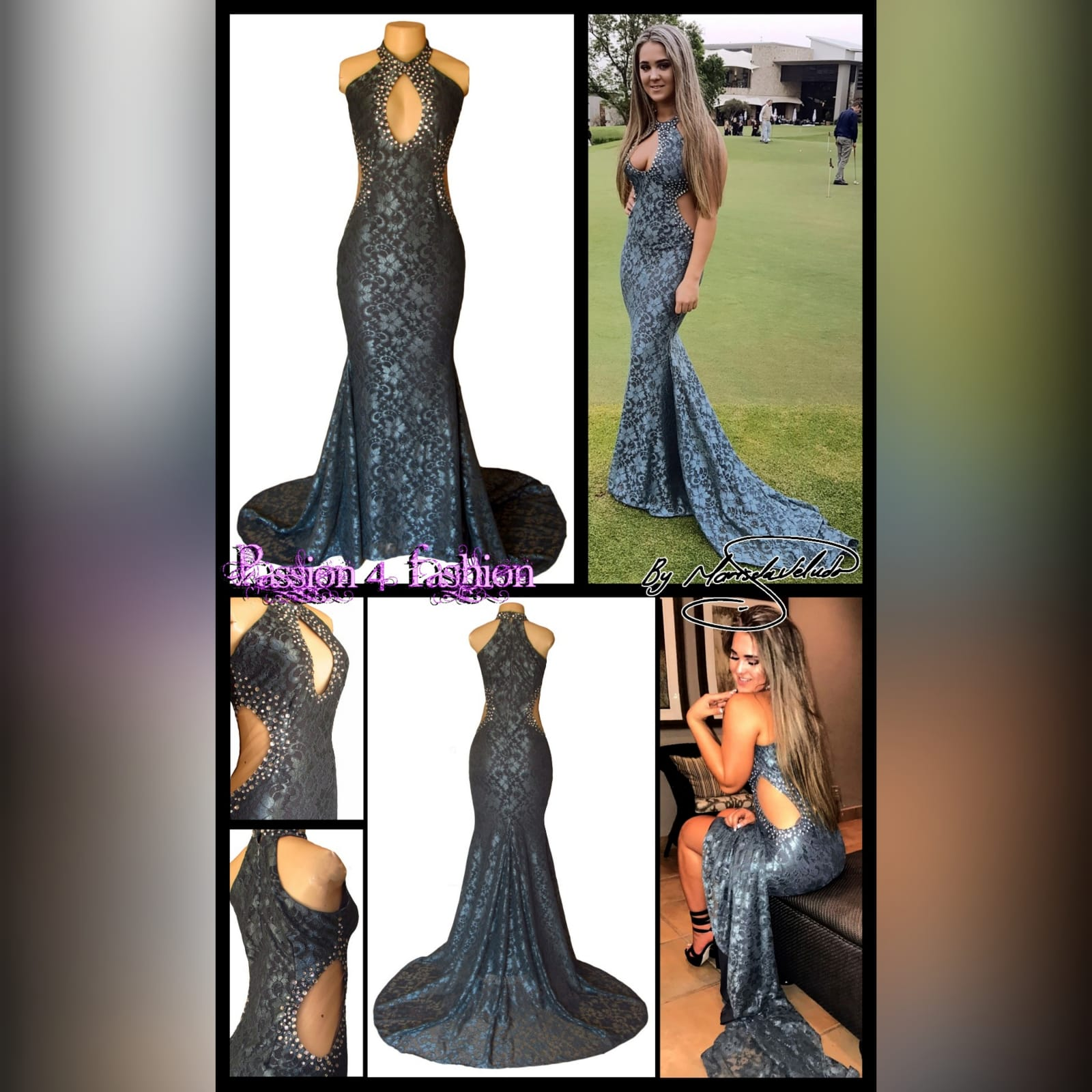 Choker gray fully laced long prom dress 2 gray fully laced long prom dress with a choker neckline and a cleavage opening and side tummy openings with a train. Detailed with silver beads.