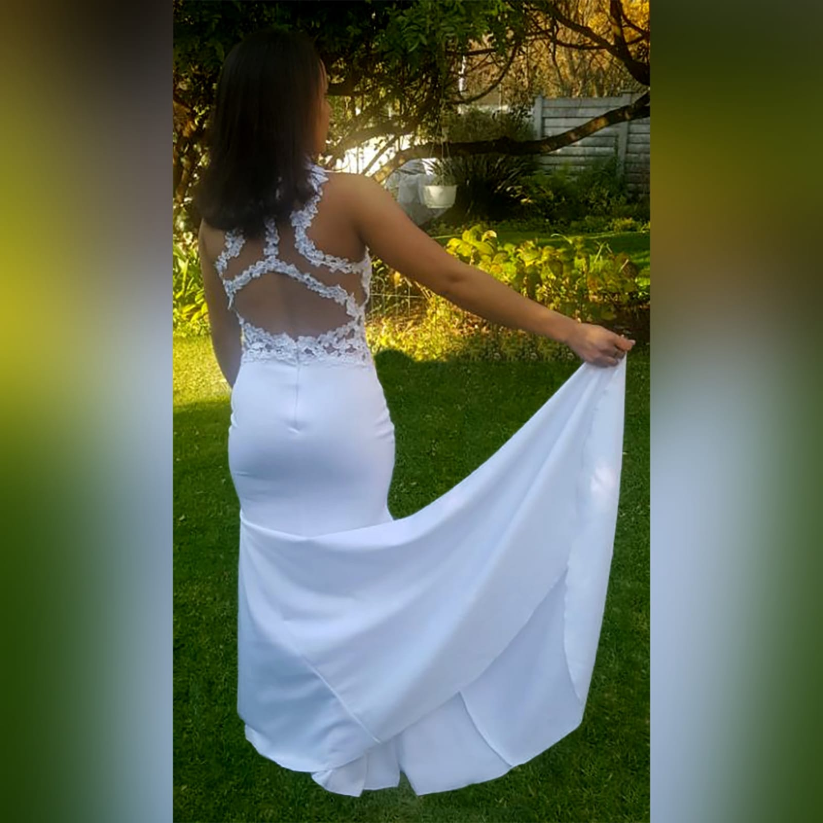 Choker white soft mermaid prom dress 1 white soft mermaid prom dress with a choker neckline and lace detail on the bodice, back & side tummy openings.