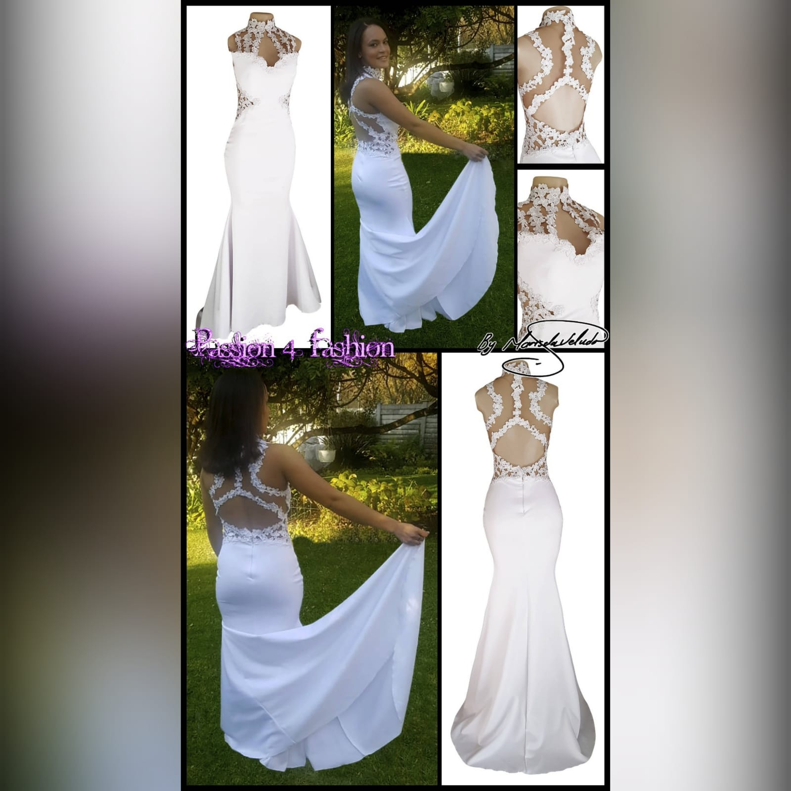 Choker white soft mermaid prom dress 6 white soft mermaid prom dress with a choker neckline and lace detail on the bodice, back & side tummy openings.