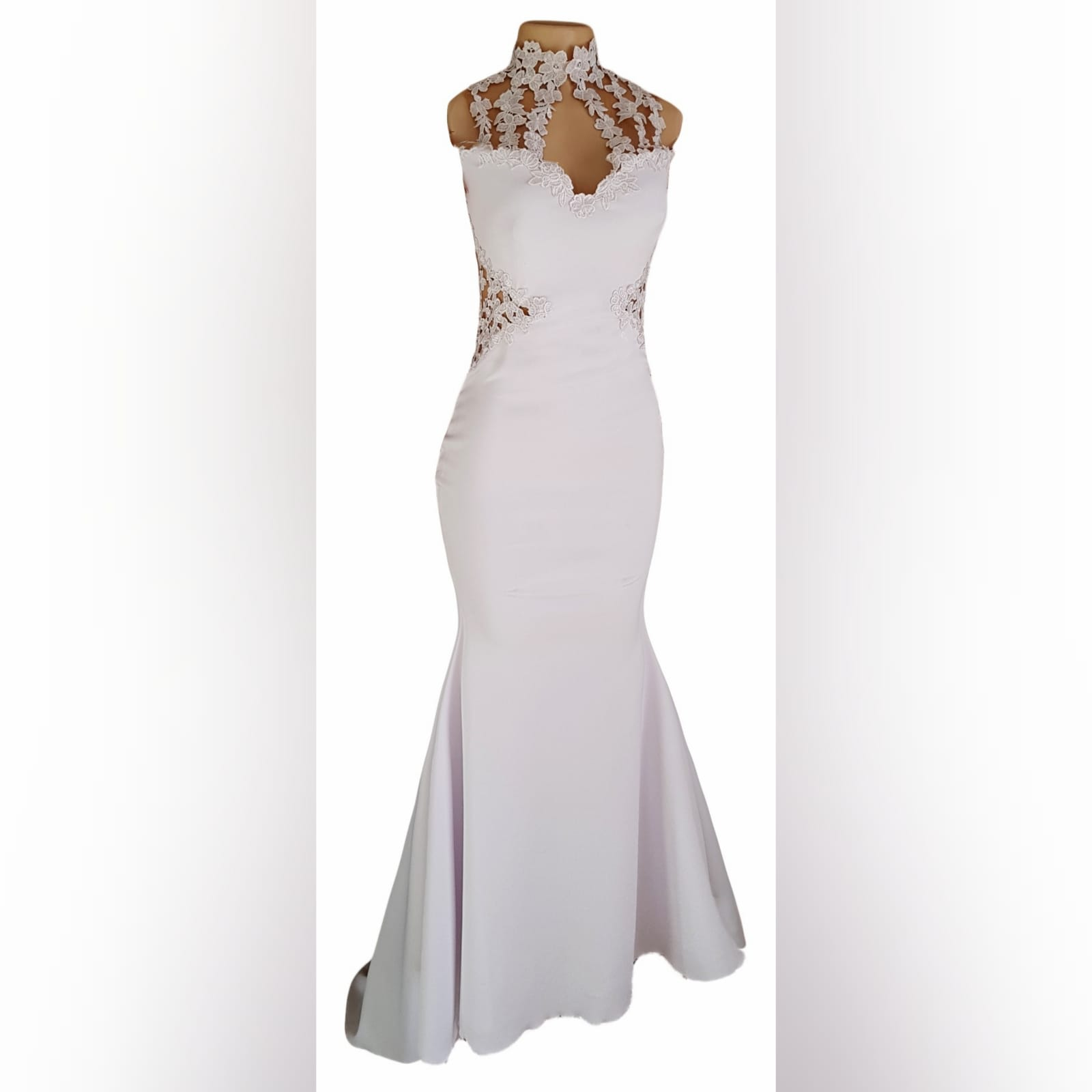 Choker white soft mermaid prom dress 8 white soft mermaid prom dress with a choker neckline and lace detail on the bodice, back & side tummy openings.
