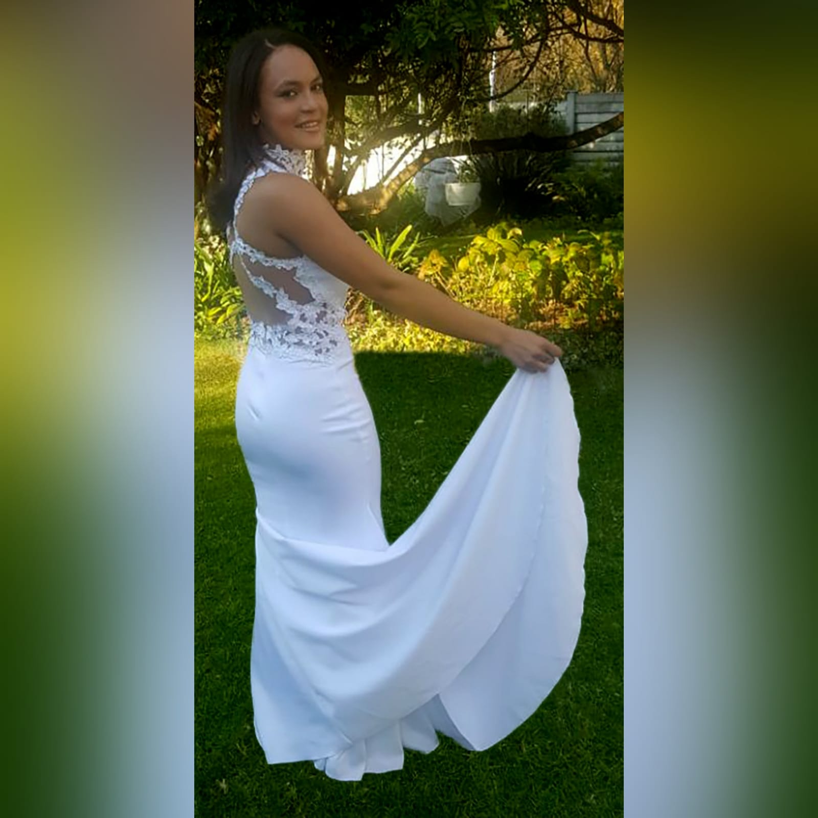 Choker white soft mermaid prom dress 3 white soft mermaid prom dress with a choker neckline and lace detail on the bodice, back & side tummy openings.