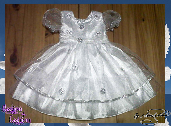 Baptism/Christening white dress made in satin with an organza overlay detailed with silver flowers and silver ribbon and short bubble sleeves