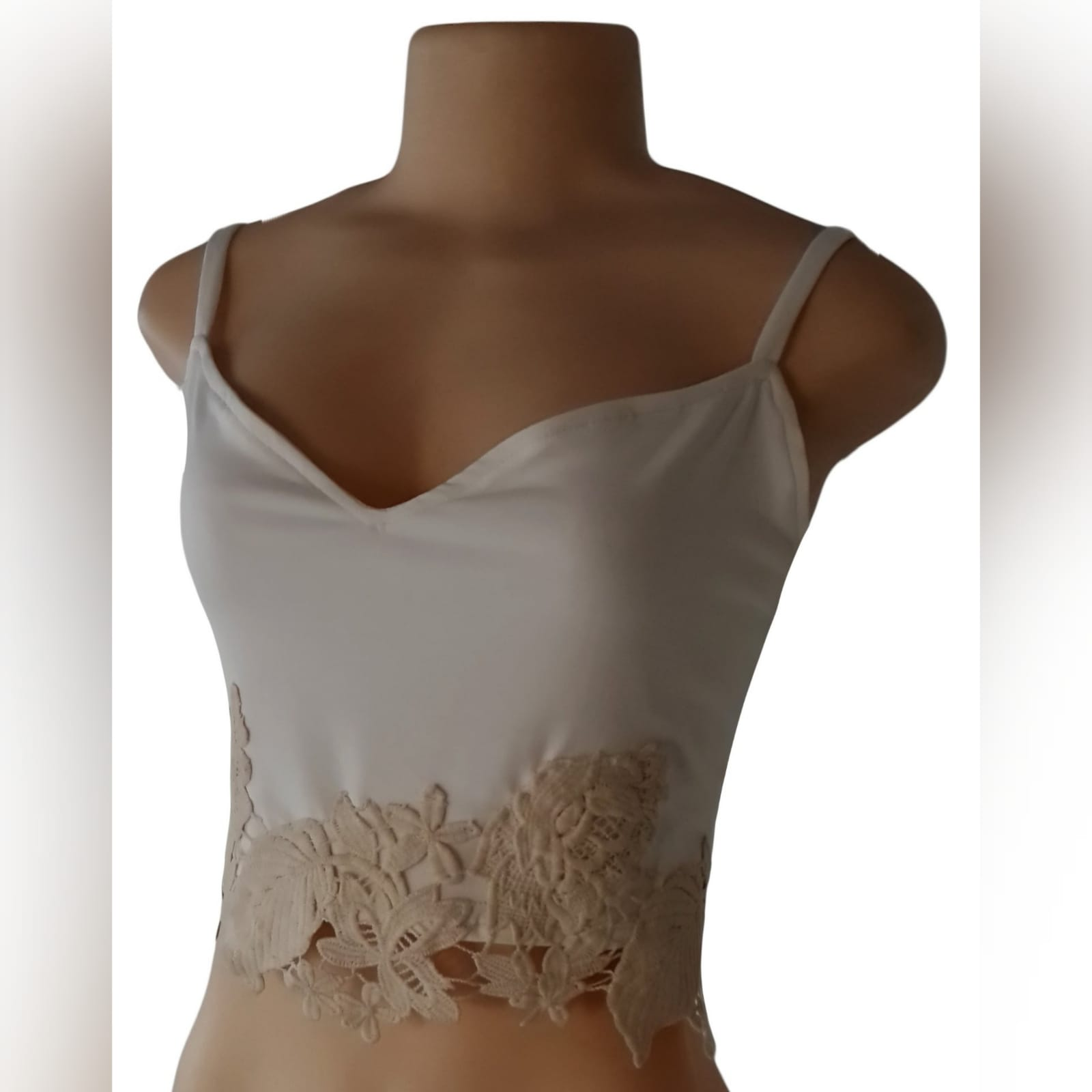 Cream and beige crop top 5 cream and beige crop top with a sweetheart neckline and lace hem detail