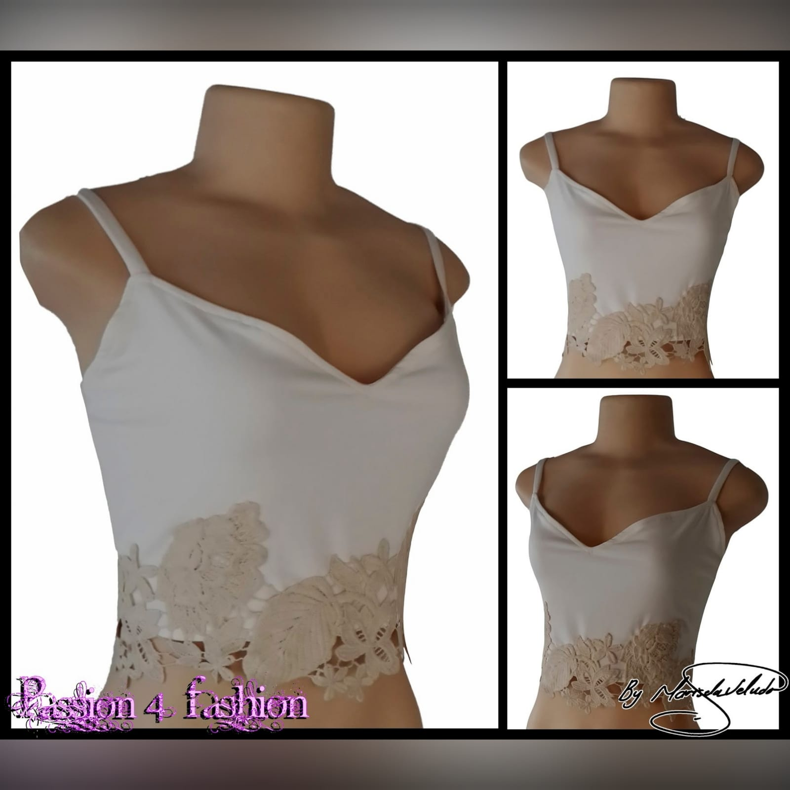 Cream and beige crop top 2 cream and beige crop top with a sweetheart neckline and lace hem detail