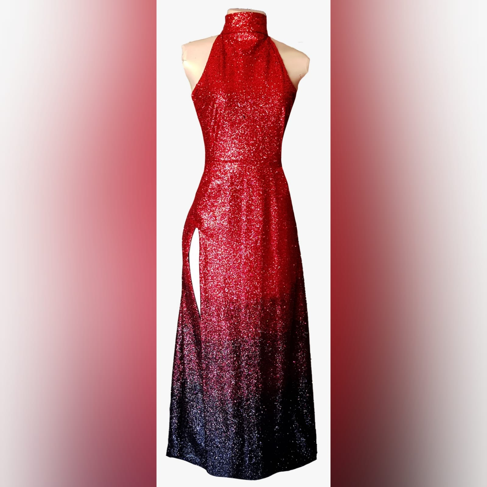 Glittered red and black ombre evening dress 11 want to be the shine at your prom gala? Wear a stunning fully glitter red and black ombre evening dress. With a high slit for a touch of sexy to your radical look.