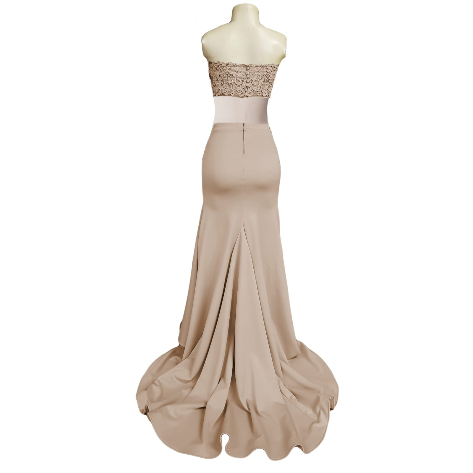 2 piece beige gala dress with high slit 4 2 piece beige gala dress, long skirt with high slit and a long train and waistband. Short lace top with back button detail.