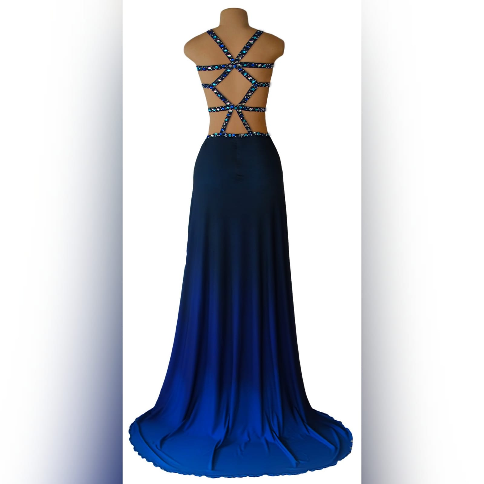 Royal blue and navy blue ombre sexy prom dress 5 royal blue and navy blue ombre sexy prom dress. With a slit and a train. With tummy and back openings detailed with silver, blue and turquoise beads.