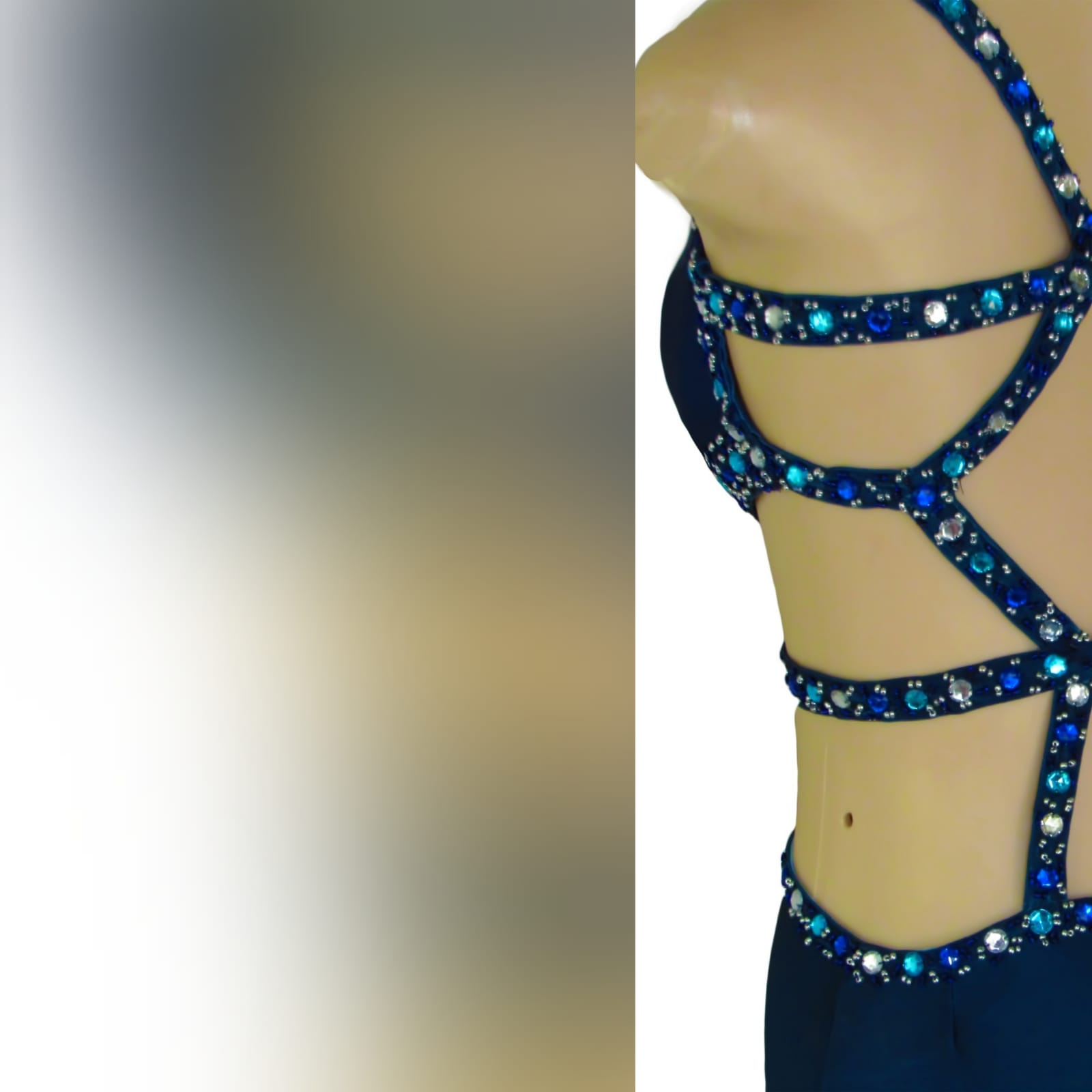 Royal blue and navy blue ombre sexy prom dress 6 royal blue and navy blue ombre sexy prom dress. With a slit and a train. With tummy and back openings detailed with silver, blue and turquoise beads.