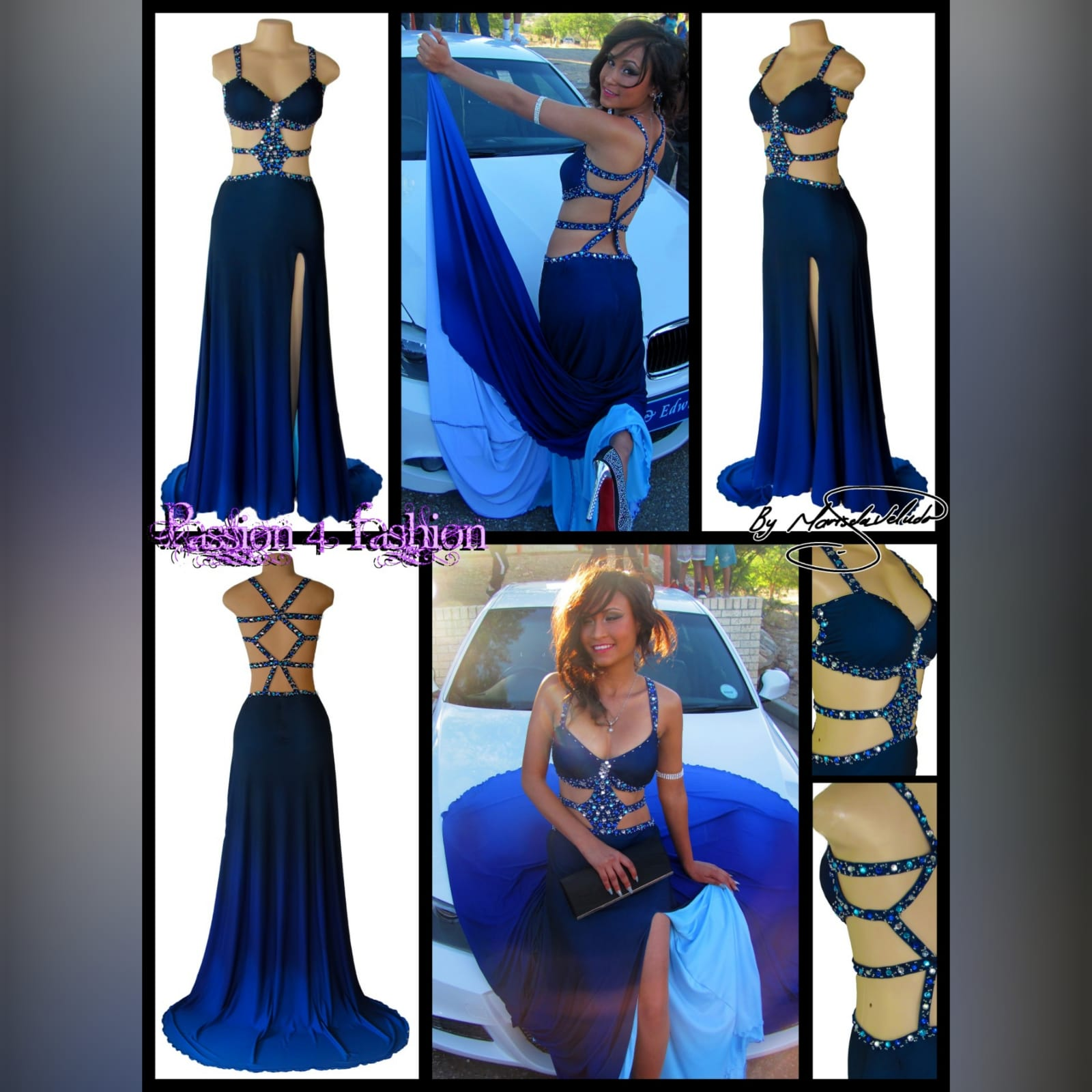 Royal blue and navy blue ombre sexy prom dress 9 royal blue and navy blue ombre sexy prom dress. With a slit and a train. With tummy and back openings detailed with silver, blue and turquoise beads.