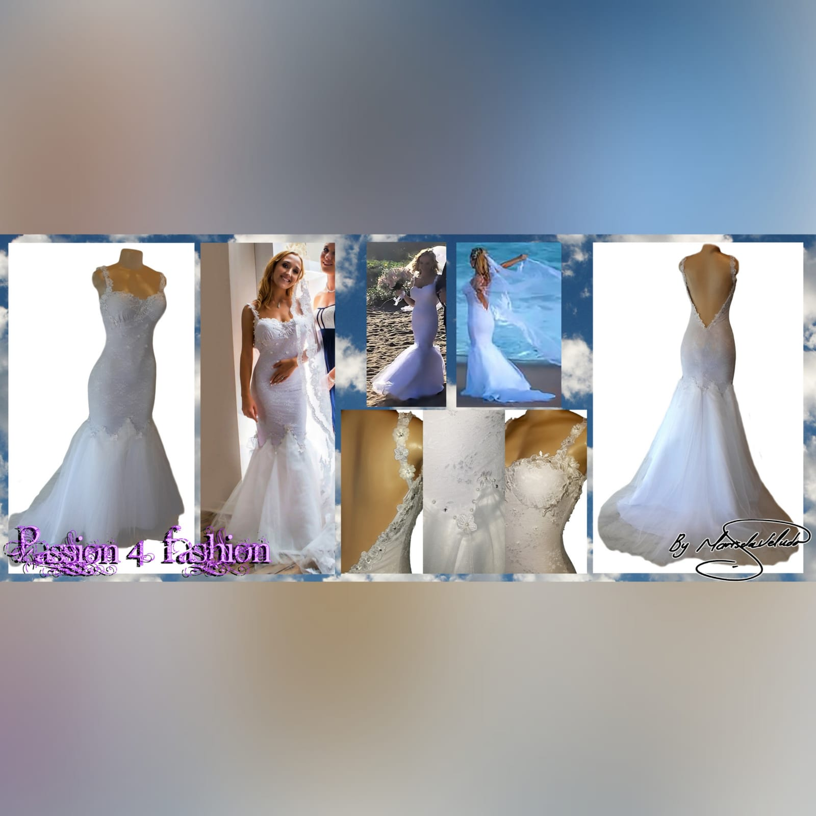 Pearled & beaded white lace & tulle ​mermaid wedding dress 11 white lace and tulle mermaid wedding dress, with a sweetheart neckline, v open back and a train. Detailed with lace, pearls and silver beads.