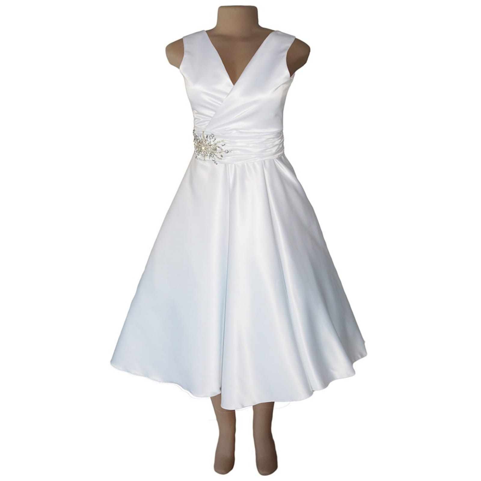 White satin 3/4 length v neck custom made wedding dress 4 white satin 3/4 length v neck custom made wedding dress, with a cross bust effect, with a ruched belt detailed with silver bling. Back detailed with buttons. With a 3/4 sleeve rounded white bolero.