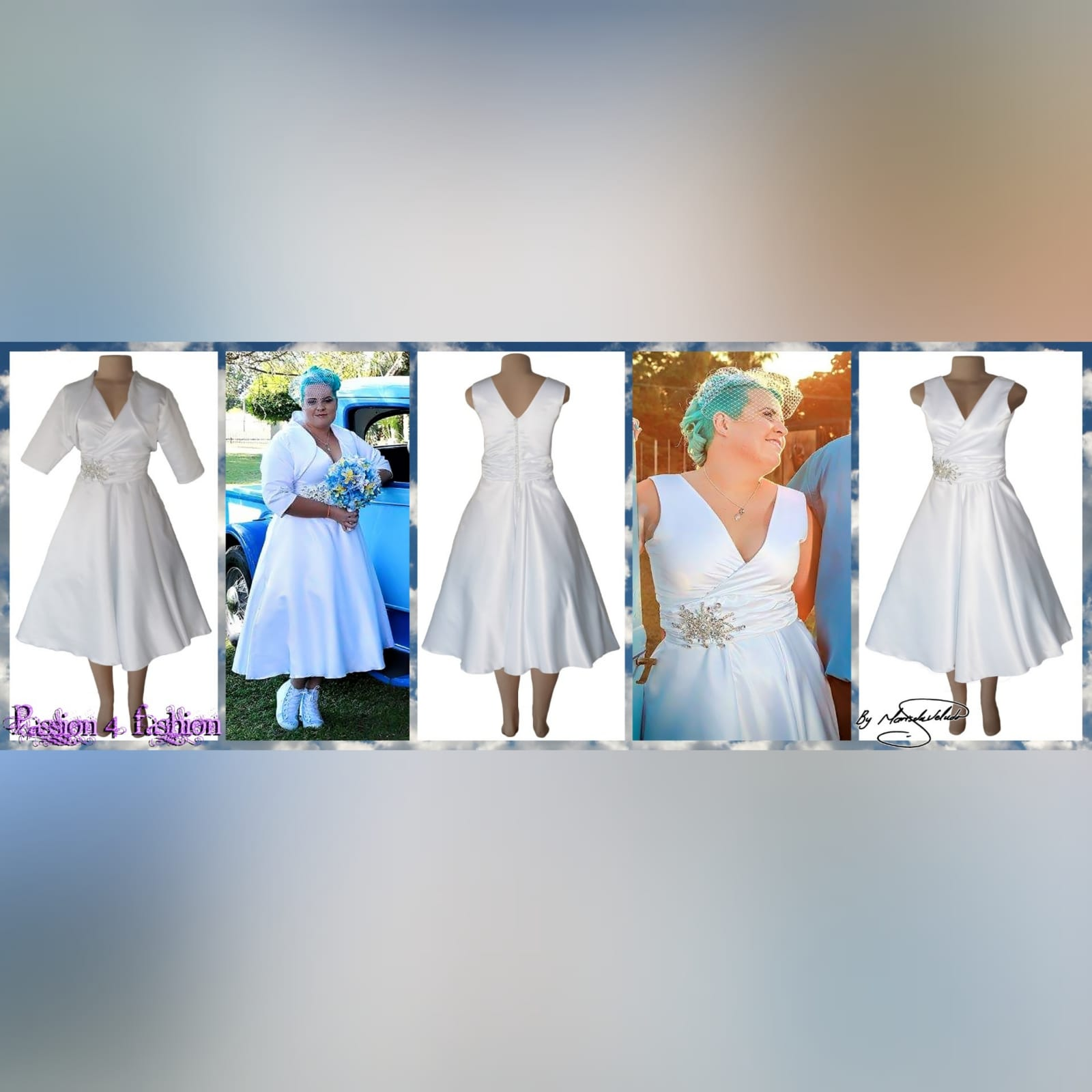 White satin 3/4 length v neck custom made wedding dress 3 white satin 3/4 length v neck custom made wedding dress, with a cross bust effect, with a ruched belt detailed with silver bling. Back detailed with buttons. With a 3/4 sleeve rounded white bolero.