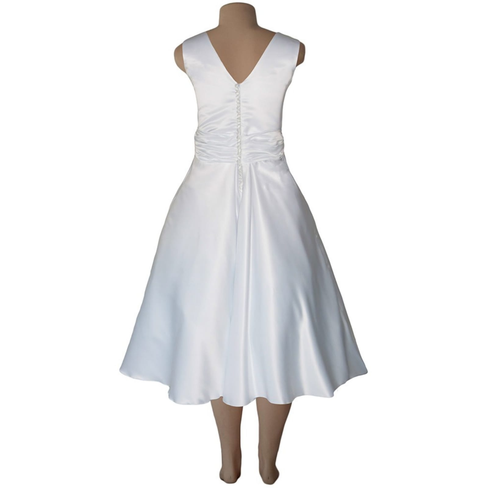 White satin 3/4 length v neck custom made wedding dress 6 white satin 3/4 length v neck custom made wedding dress, with a cross bust effect, with a ruched belt detailed with silver bling. Back detailed with buttons. With a 3/4 sleeve rounded white bolero.