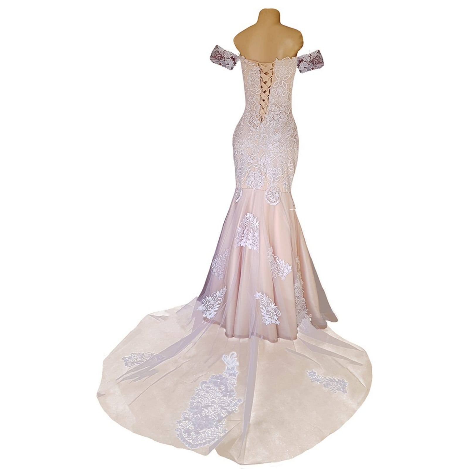 White lace and pinky peach mermaid wedding dress 5 pale peach and white soft mermaid wedding dress with a lace-up open back and off-shoulder strap sleeve. With a sheer train detailed with lace.