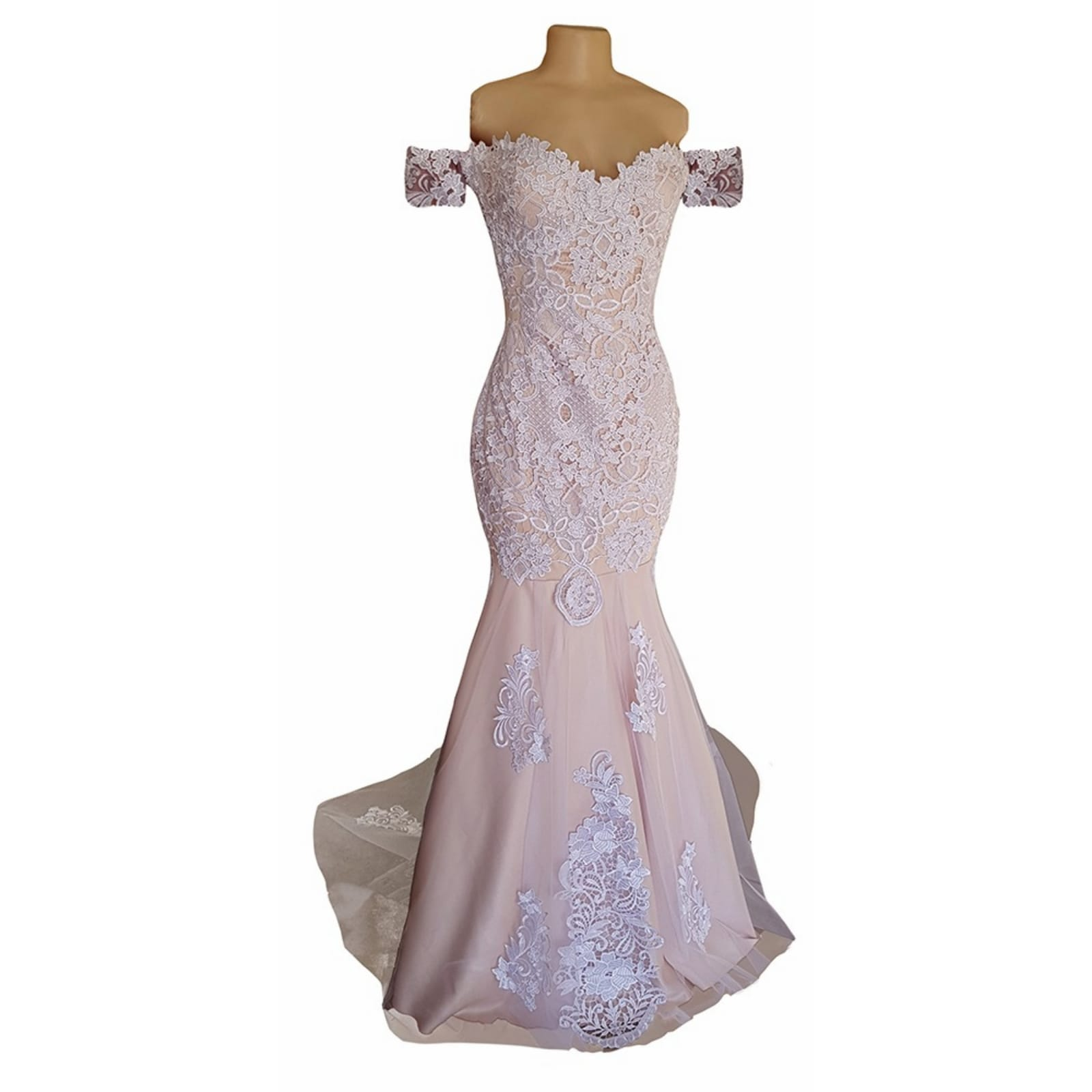 White lace and pinky peach mermaid wedding dress 4 pale peach and white soft mermaid wedding dress with a lace-up open back and off-shoulder strap sleeve. With a sheer train detailed with lace.