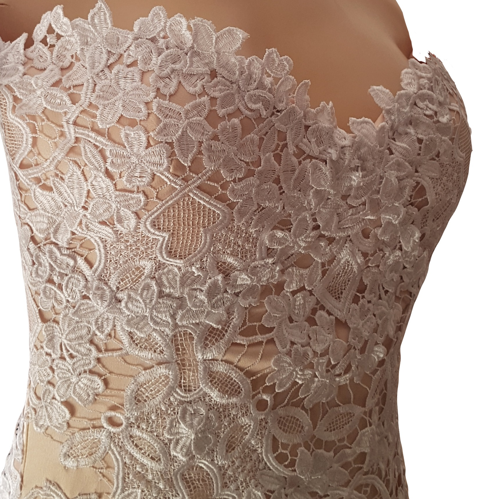 White lace and pinky peach mermaid wedding dress 6 pale peach and white soft mermaid wedding dress with a lace-up open back and off-shoulder strap sleeve. With a sheer train detailed with lace.