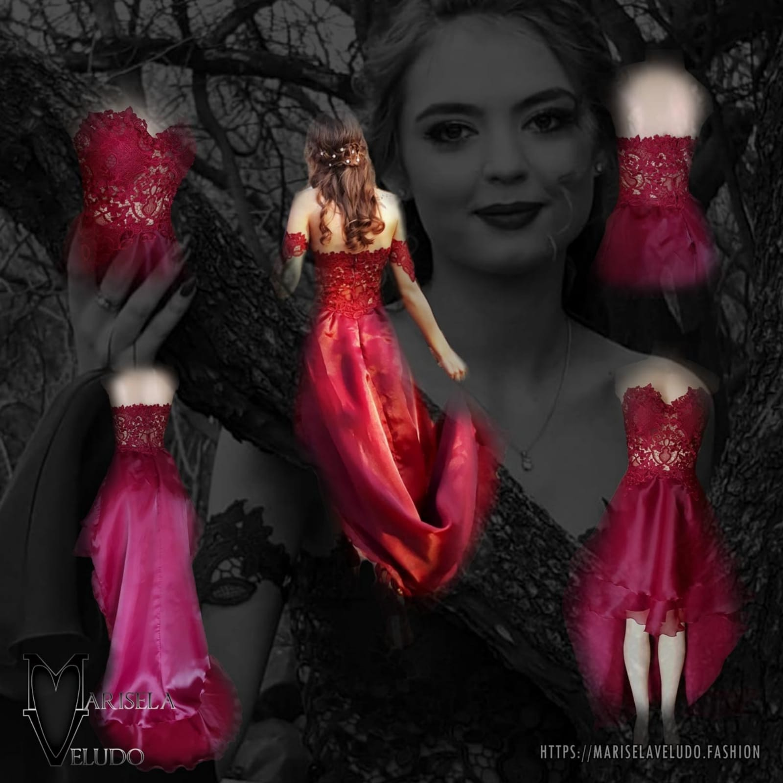 Dark red high low evening dress 11 the perfect dark red evening dress for your prom night if you want to look elegant yet adorable. With a lace bodice and a double layer hi - lo flowy bottom for a slight dramatic effect.