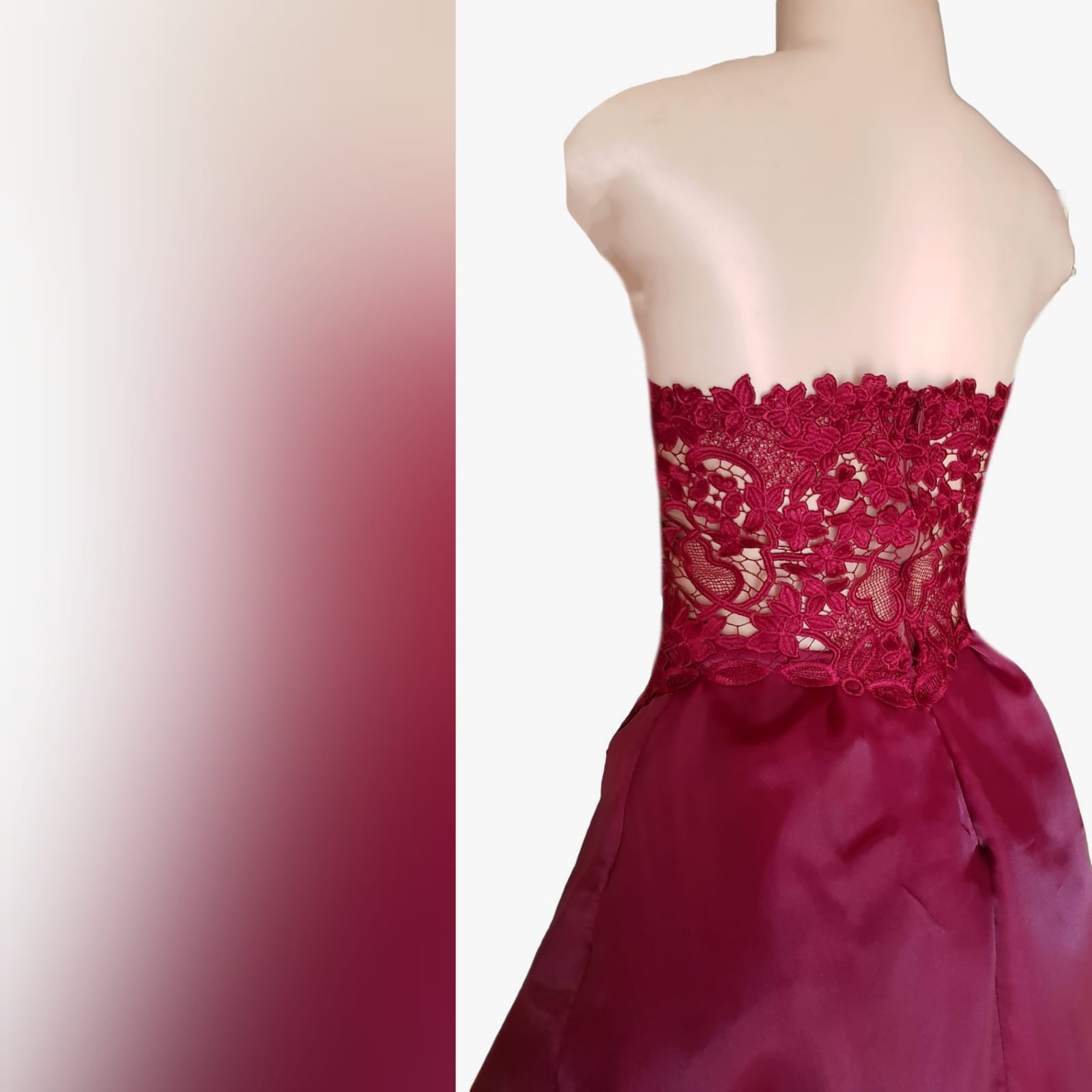 Dark red high low evening dress 5 the perfect dark red evening dress for your prom night if you want to look elegant yet adorable. With a lace bodice and a double layer hi - lo flowy bottom for a slight dramatic effect.