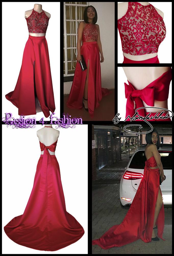 Bright red 2 piece prom dress