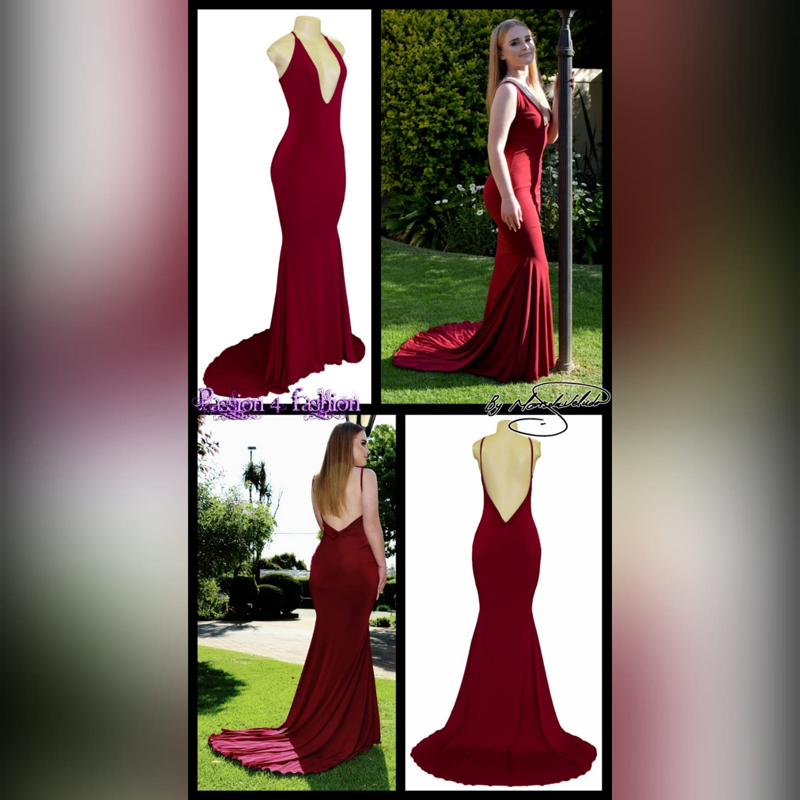 Deep red plunging neckline prom dress 4 deep red plunging neckline prom dress, low open back with thin should straps and a long train.