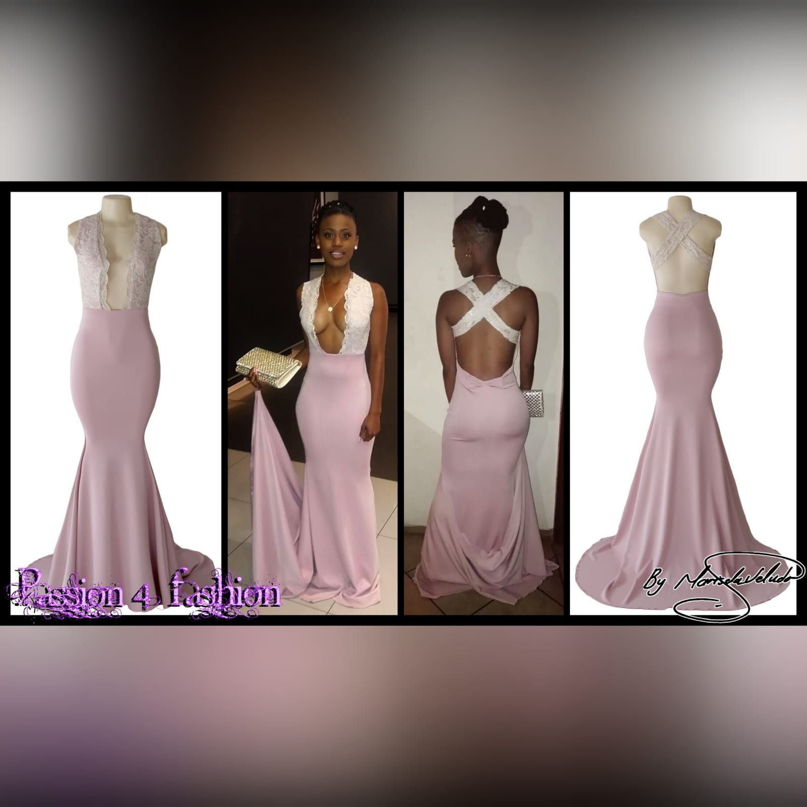 Dirty pink and cream soft mermaid prom dress 5 dirty pink and cream plunging neckline soft mermaid matric farewell dress with an open back and crossed lace back straps with a train.