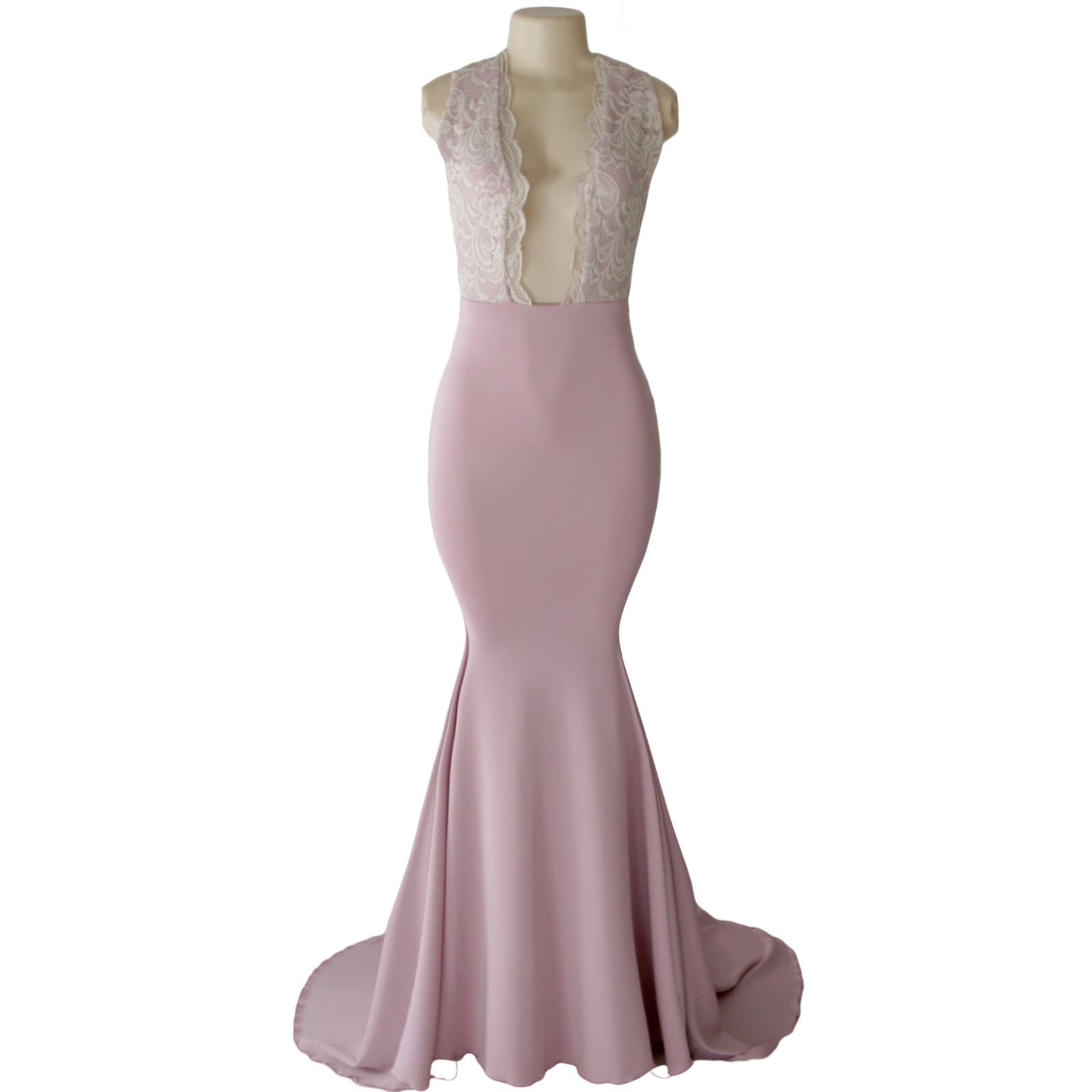 Dirty pink and cream soft mermaid prom dress 6 dirty pink and cream plunging neckline soft mermaid matric farewell dress with an open back and crossed lace back straps with a train.
