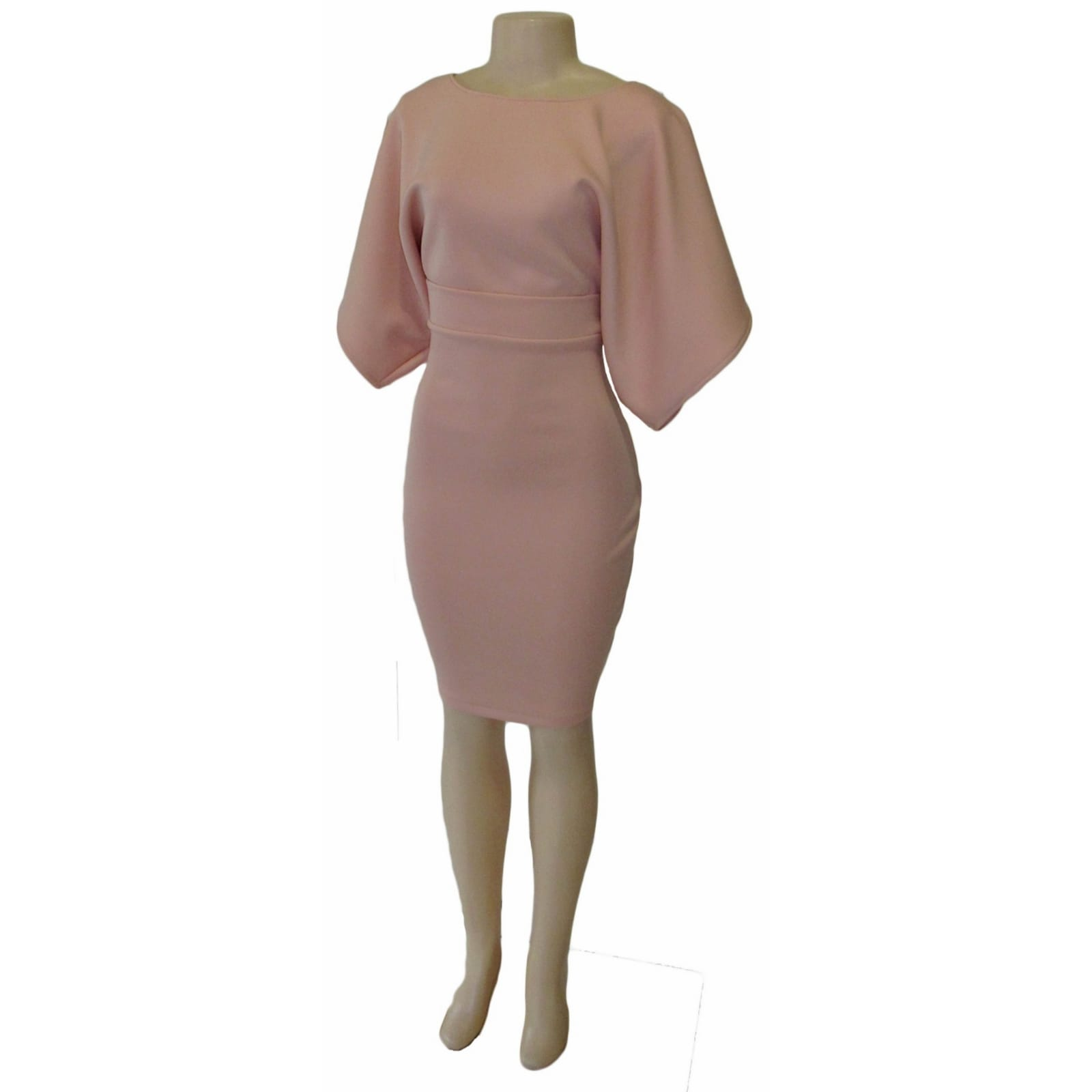 Dusty pink smart casual knee length dress 5 dusty pink smart casual knee length dress with wide short sleeves and fitted hip area creating a mini skirt look. With a belt