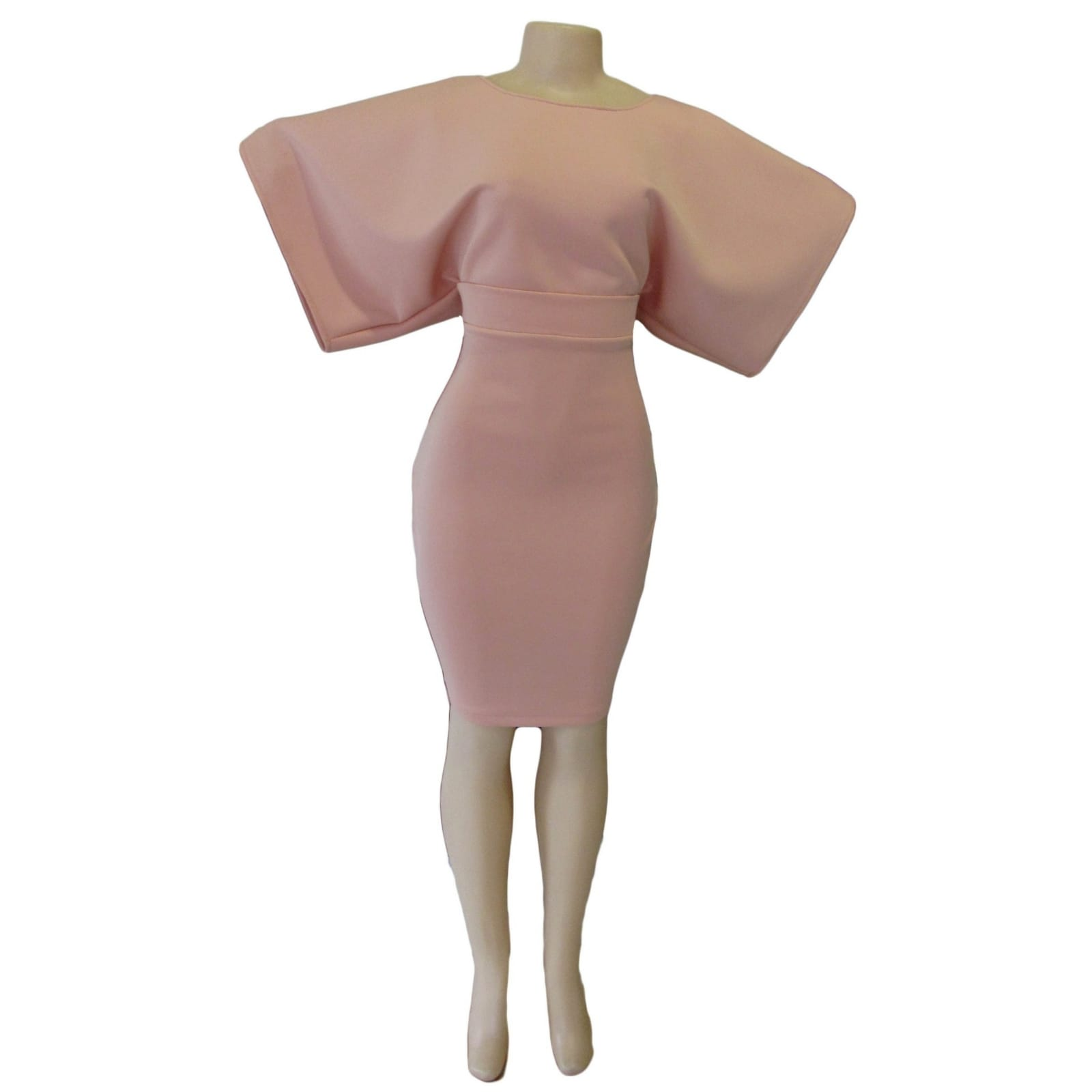 Dusty pink smart casual knee length dress 3 dusty pink smart casual knee length dress with wide short sleeves and fitted hip area creating a mini skirt look. With a belt
