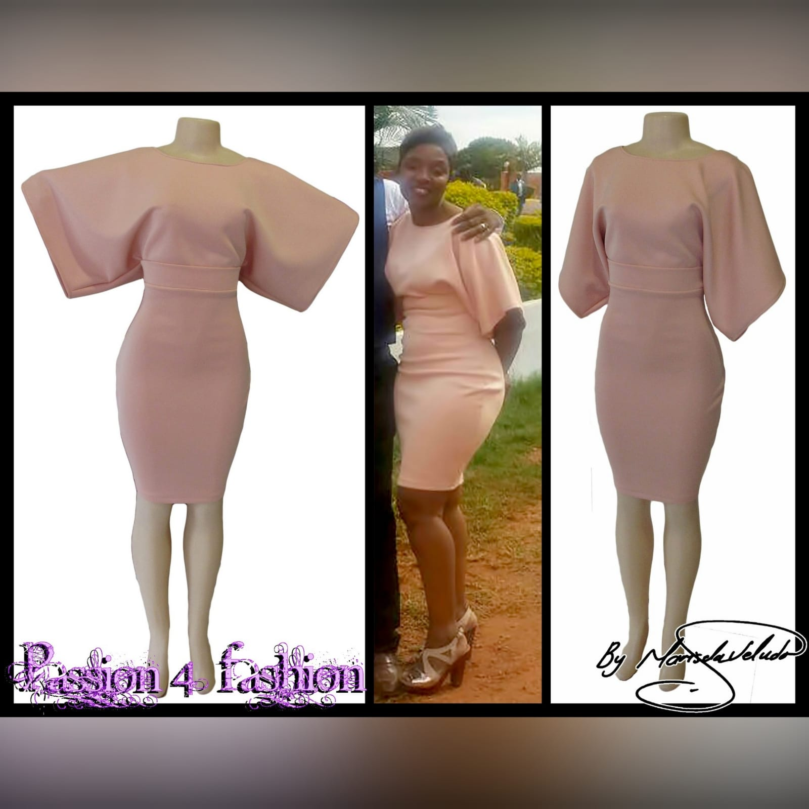 Dusty pink smart casual knee length dress 4 dusty pink smart casual knee length dress with wide short sleeves and fitted hip area creating a mini skirt look. With a belt
