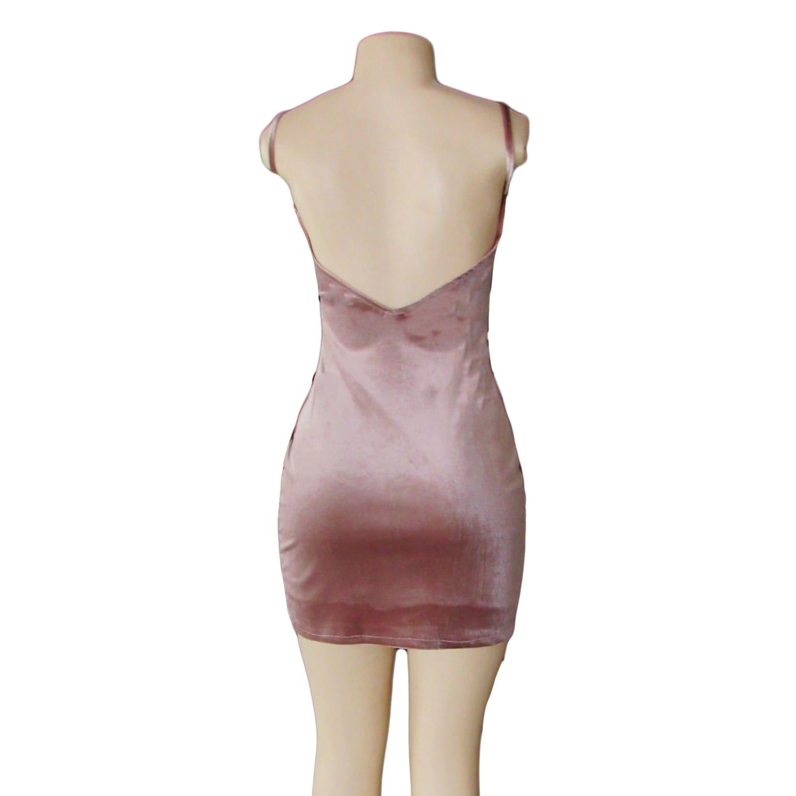 Dusty pink velvet short smart casual dress 5 dusty pink velvet short smart casual dress. With a low open back, little front slit.